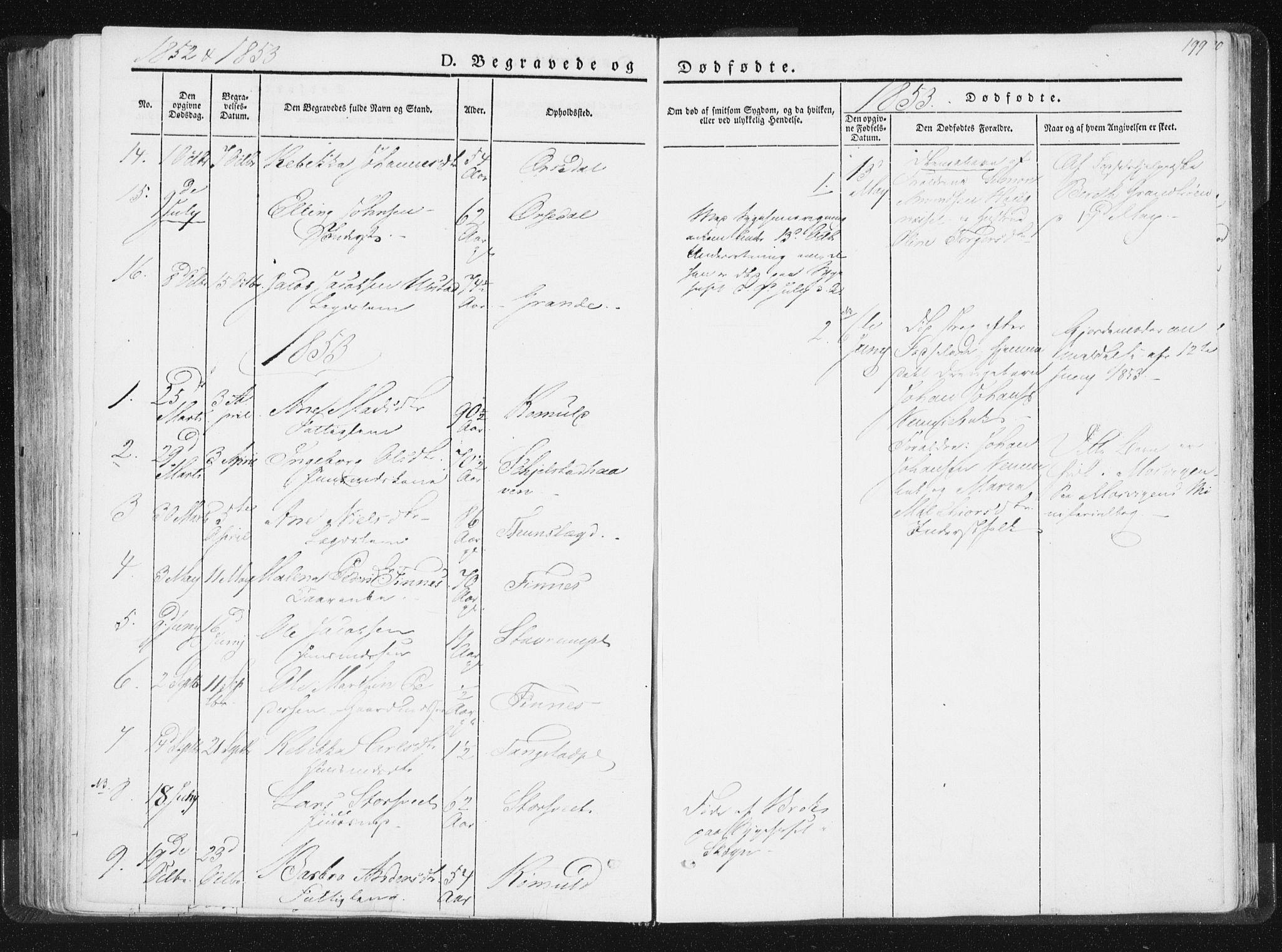 SAT, Ministerialprotokoller, klokkerbøker og fødselsregistre - Nord-Trøndelag, 744/L0418: Ministerialbok nr. 744A02, 1843-1866, s. 199