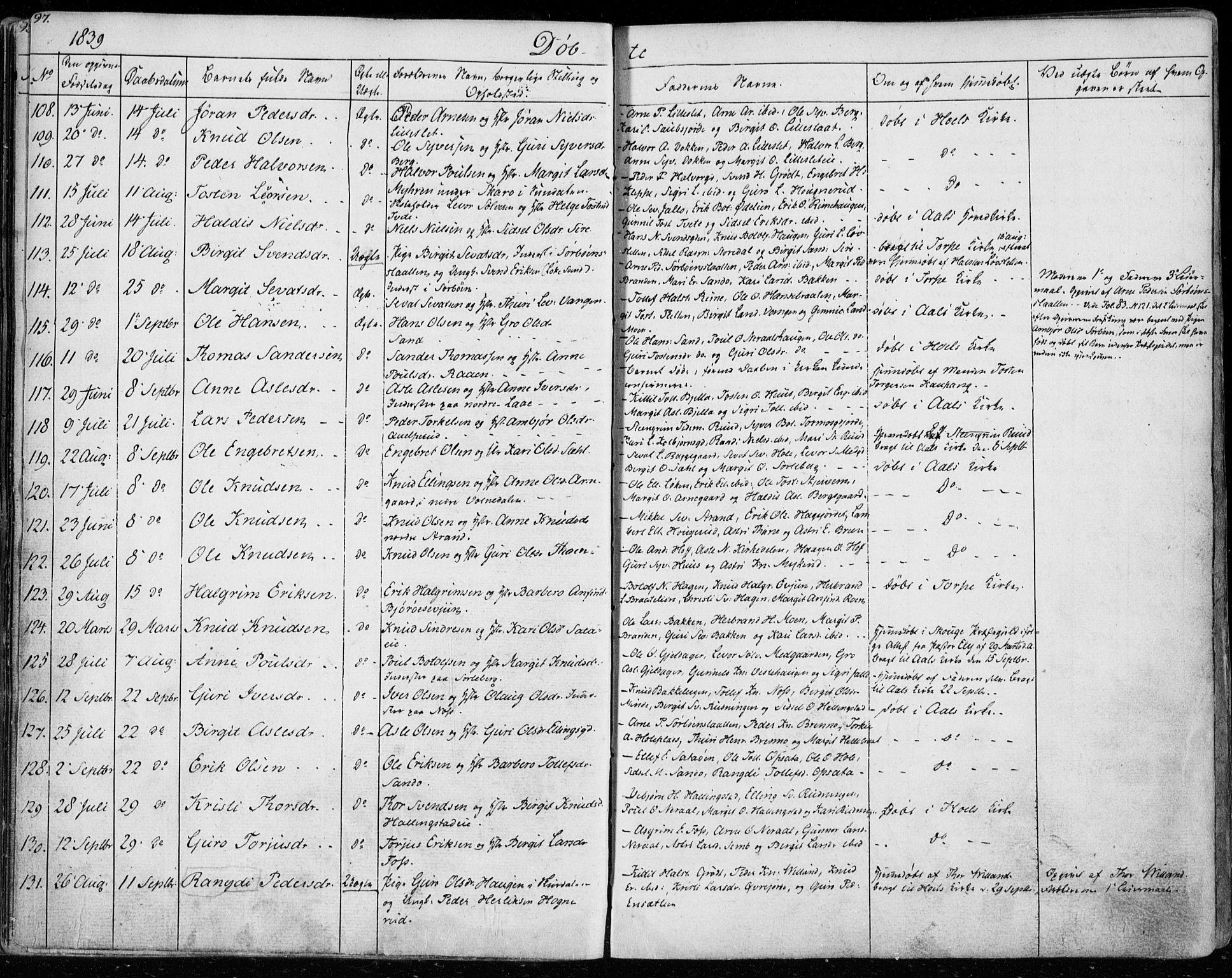 SAKO, Ål kirkebøker, F/Fa/L0005: Ministerialbok nr. I 5, 1825-1848, s. 97