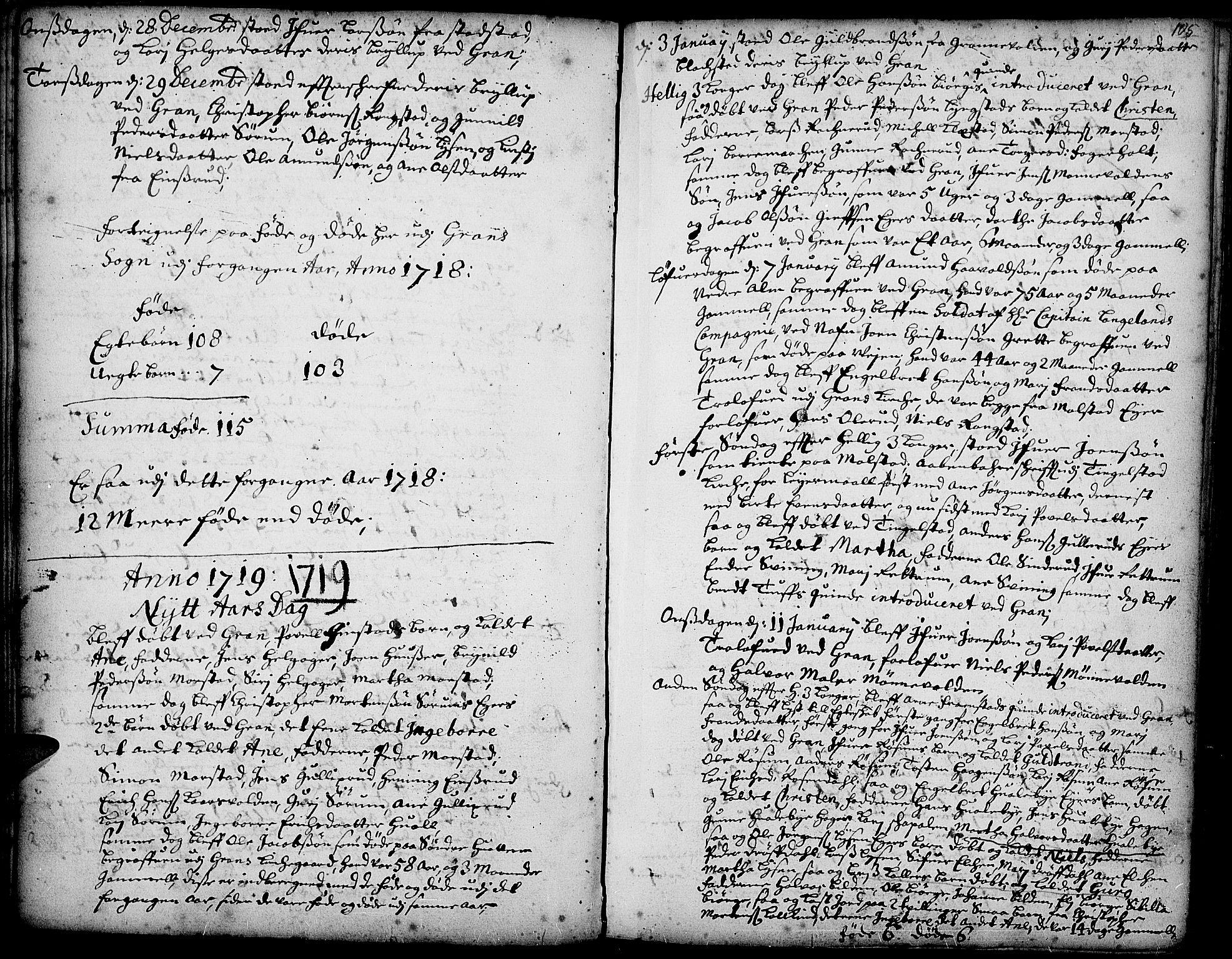 SAH, Gran prestekontor, Ministerialbok nr. 1, 1707-1731, s. 105