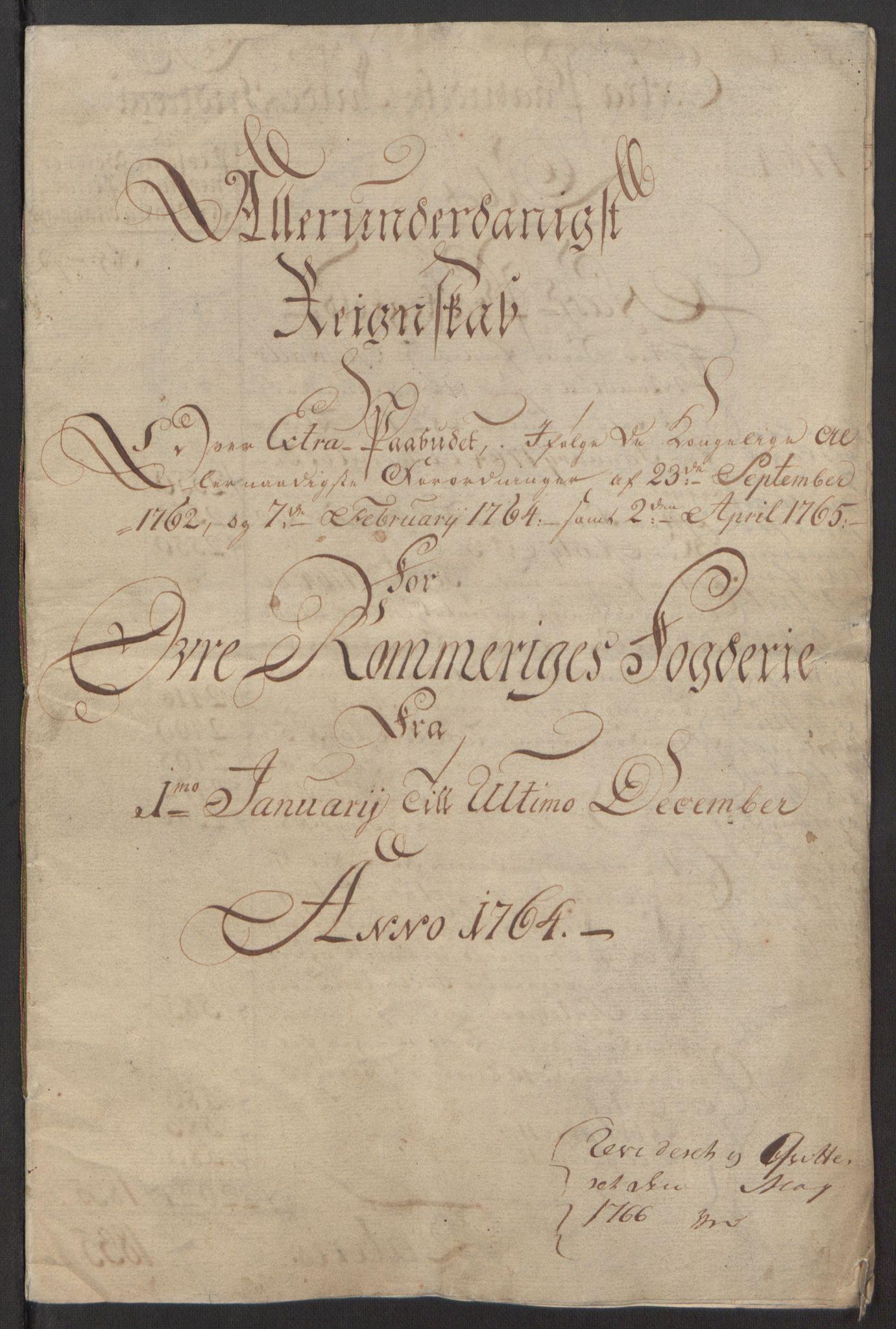 RA, Rentekammeret inntil 1814, Reviderte regnskaper, Fogderegnskap, R12/L0803: Ekstraskatten Øvre Romerike, 1763-1764, s. 185