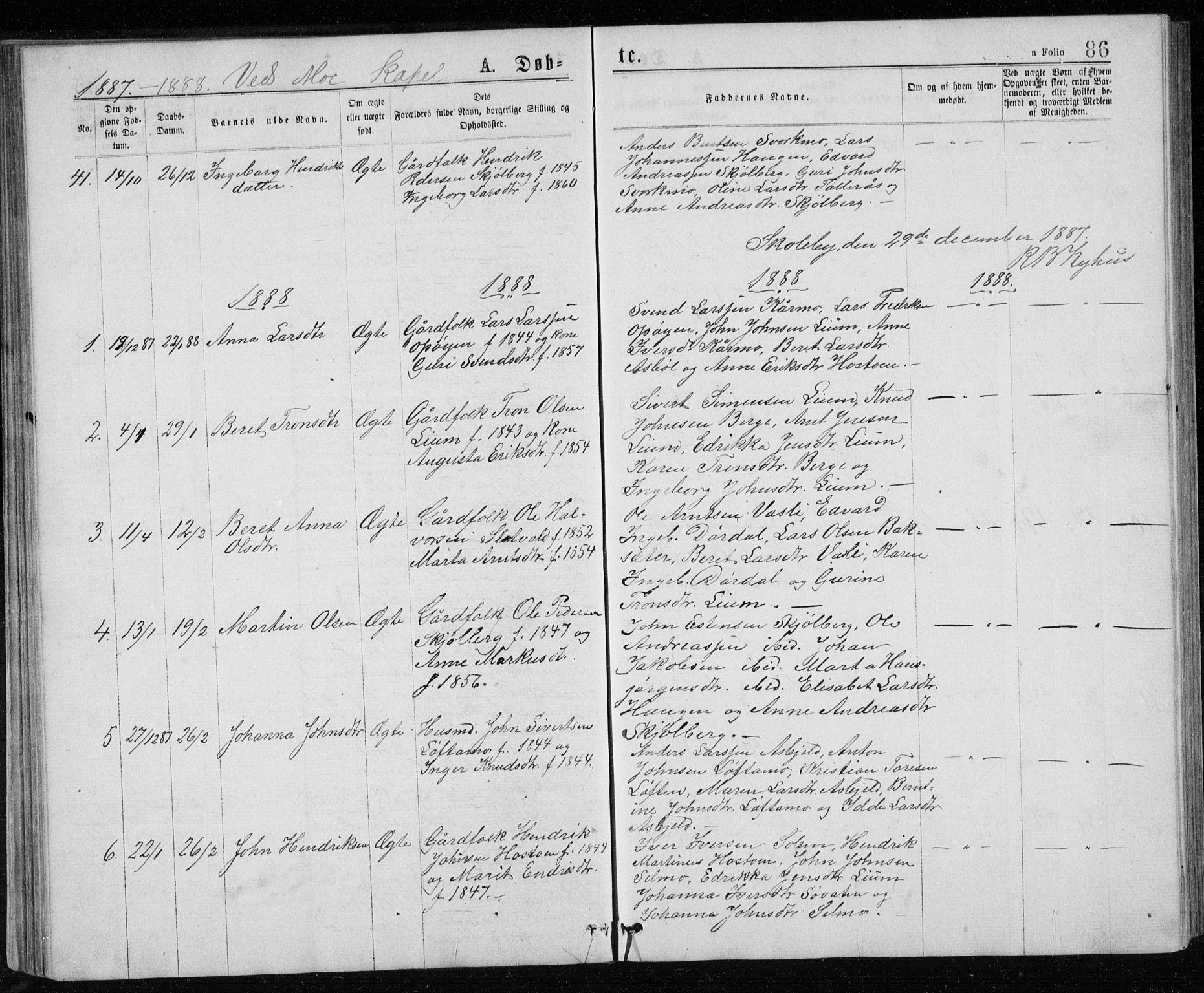 SAT, Ministerialprotokoller, klokkerbøker og fødselsregistre - Sør-Trøndelag, 671/L0843: Klokkerbok nr. 671C02, 1873-1892, s. 86