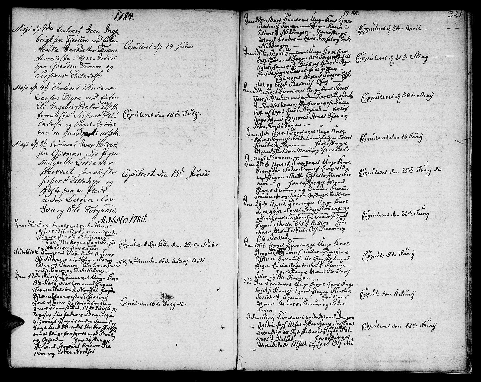 SAT, Ministerialprotokoller, klokkerbøker og fødselsregistre - Sør-Trøndelag, 618/L0438: Ministerialbok nr. 618A03, 1783-1815, s. 321