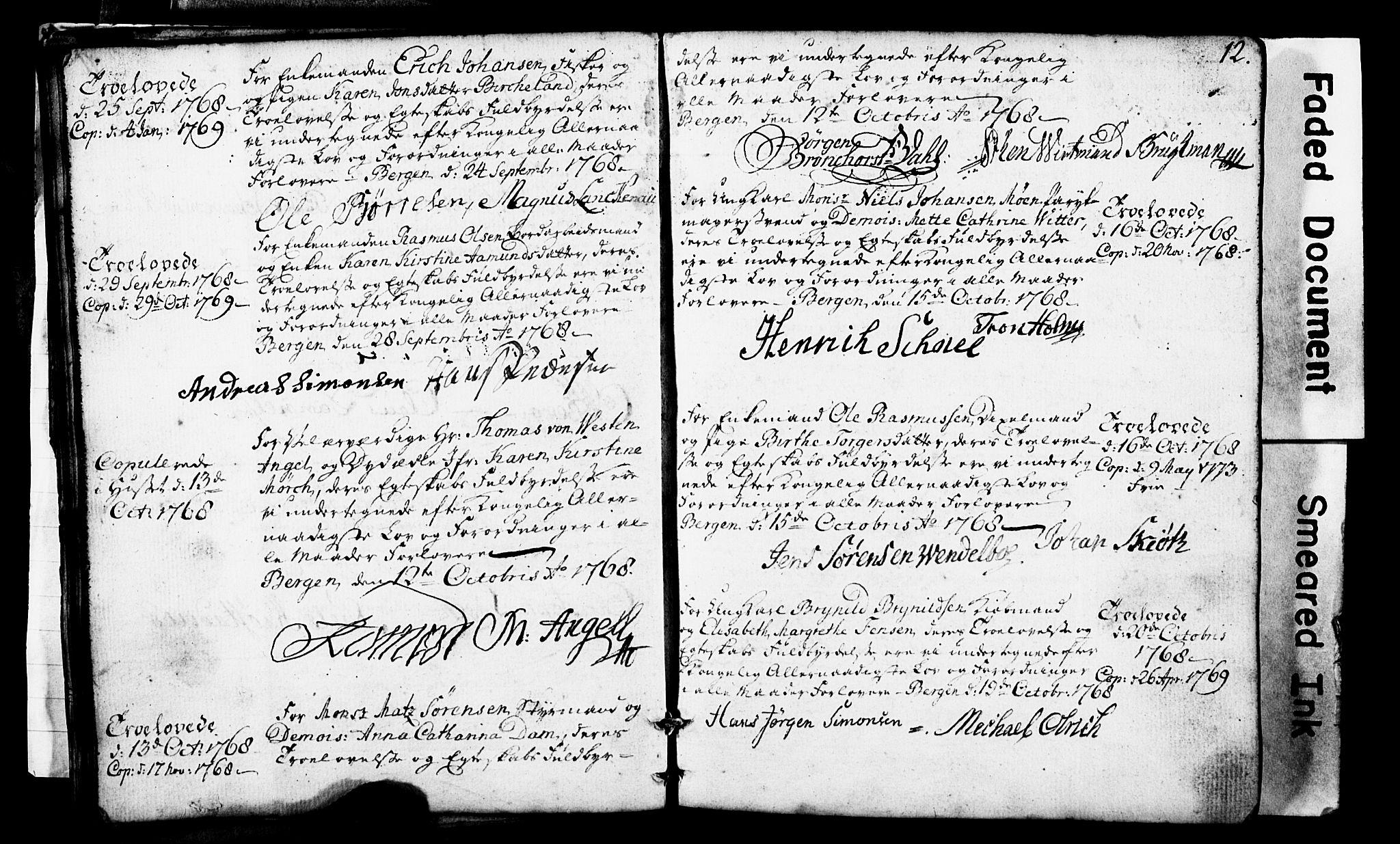 SAB, Domkirken sokneprestembete, Forlovererklæringer nr. II.5.1, 1767-1792, s. 12
