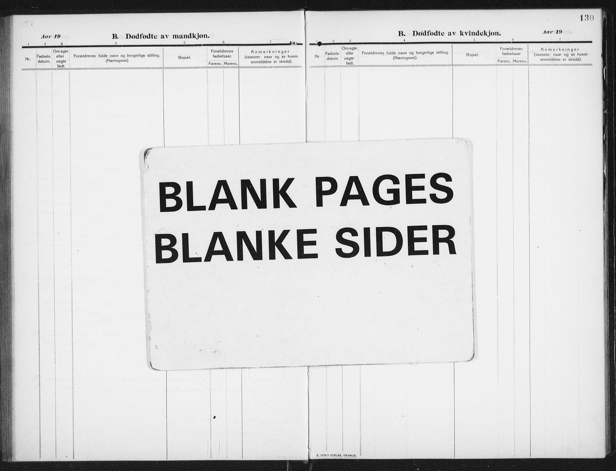 SAT, Ministerialprotokoller, klokkerbøker og fødselsregistre - Nordland, 882/L1183: Klokkerbok nr. 882C01, 1911-1938, s. 130