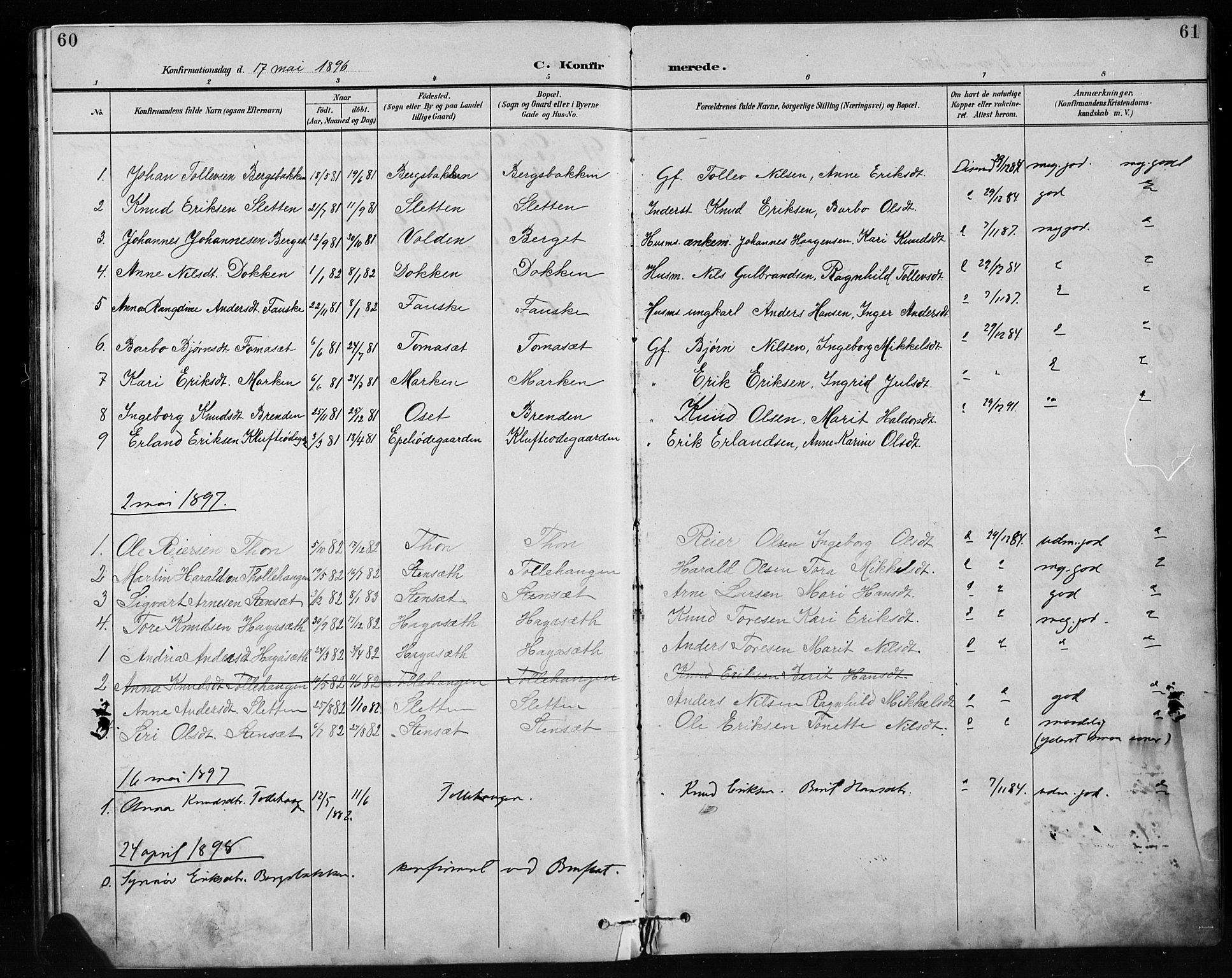 SAH, Etnedal prestekontor, H/Ha/Hab/Habb/L0001: Klokkerbok nr. II 1, 1894-1911, s. 60-61
