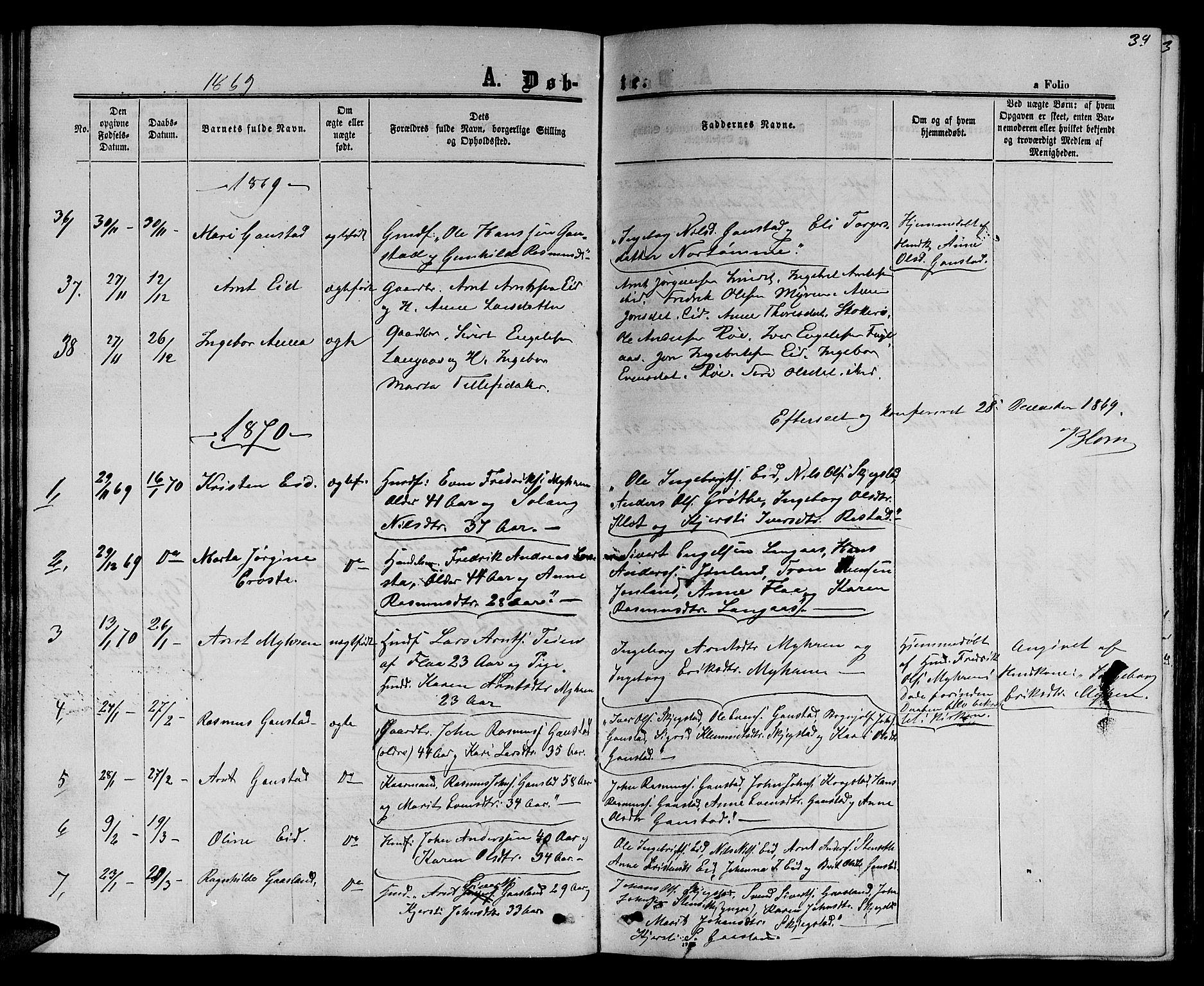 SAT, Ministerialprotokoller, klokkerbøker og fødselsregistre - Sør-Trøndelag, 694/L1131: Klokkerbok nr. 694C03, 1858-1886, s. 39