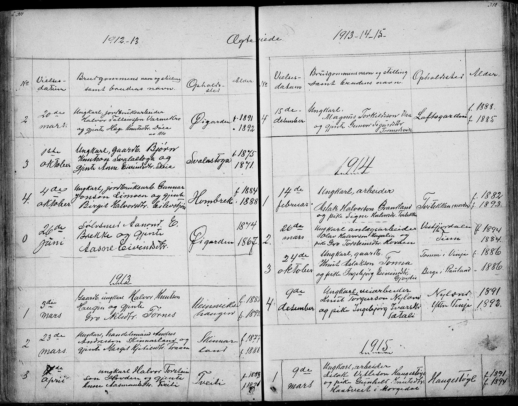 SAKO, Rauland kirkebøker, G/Ga/L0002: Klokkerbok nr. I 2, 1849-1935, s. 311-312