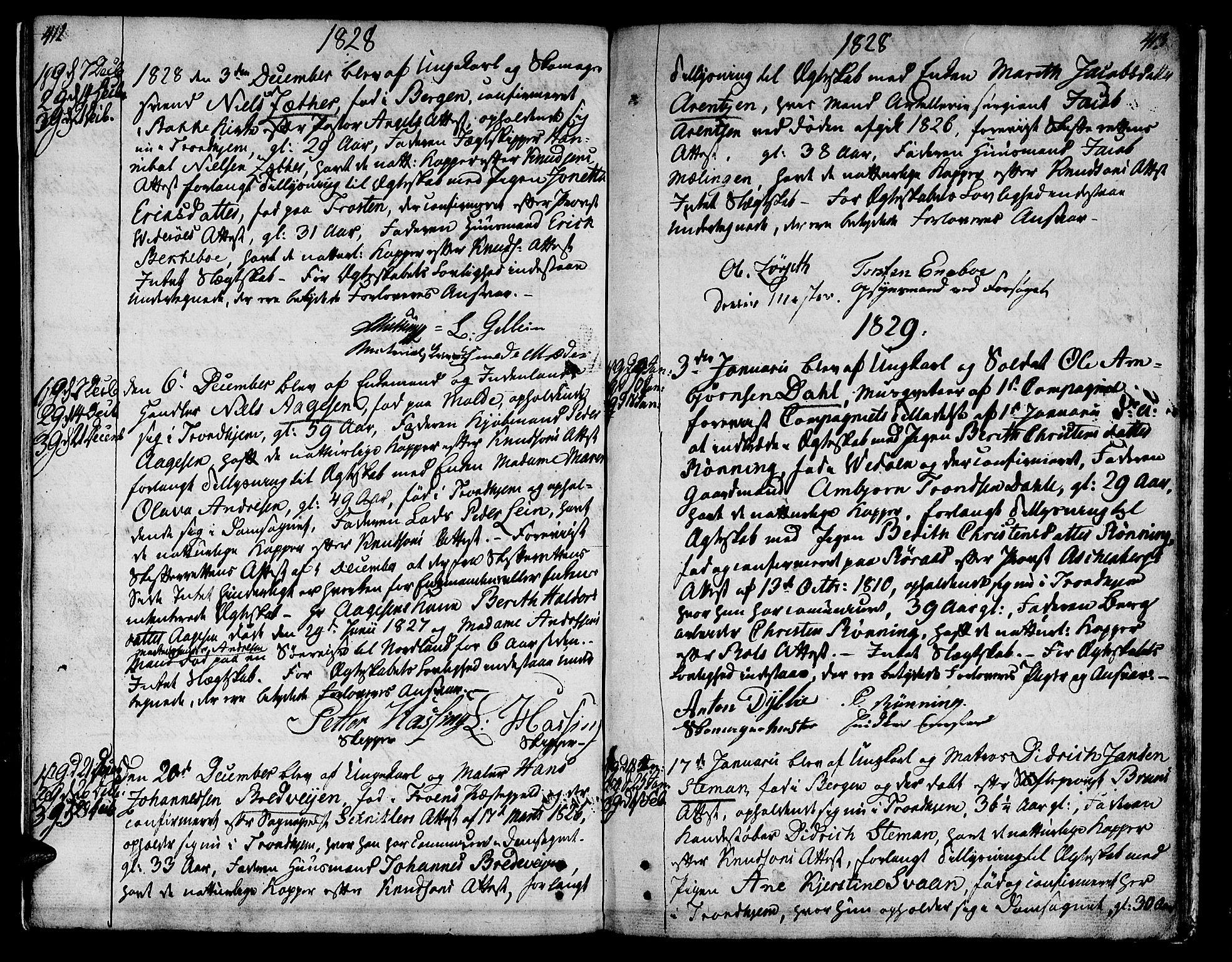 SAT, Ministerialprotokoller, klokkerbøker og fødselsregistre - Sør-Trøndelag, 601/L0042: Ministerialbok nr. 601A10, 1802-1830, s. 412-413