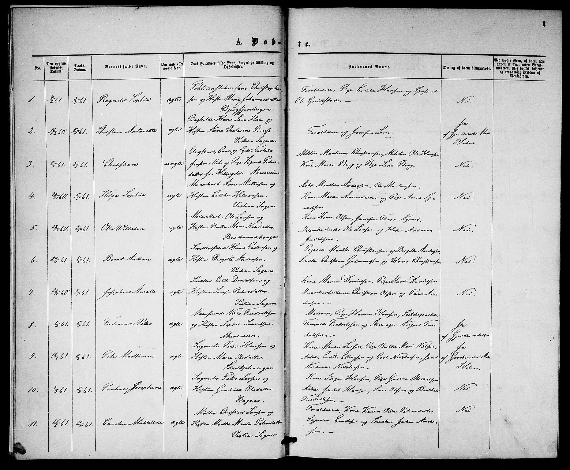 SAO, Gamle Aker prestekontor Kirkebøker, G/L0001: Klokkerbok nr. 1, 1861-1868, s. 1