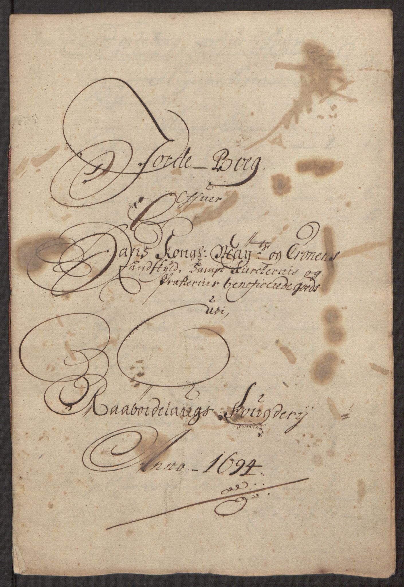 RA, Rentekammeret inntil 1814, Reviderte regnskaper, Fogderegnskap, R40/L2444: Fogderegnskap Råbyggelag, 1693-1696, s. 97