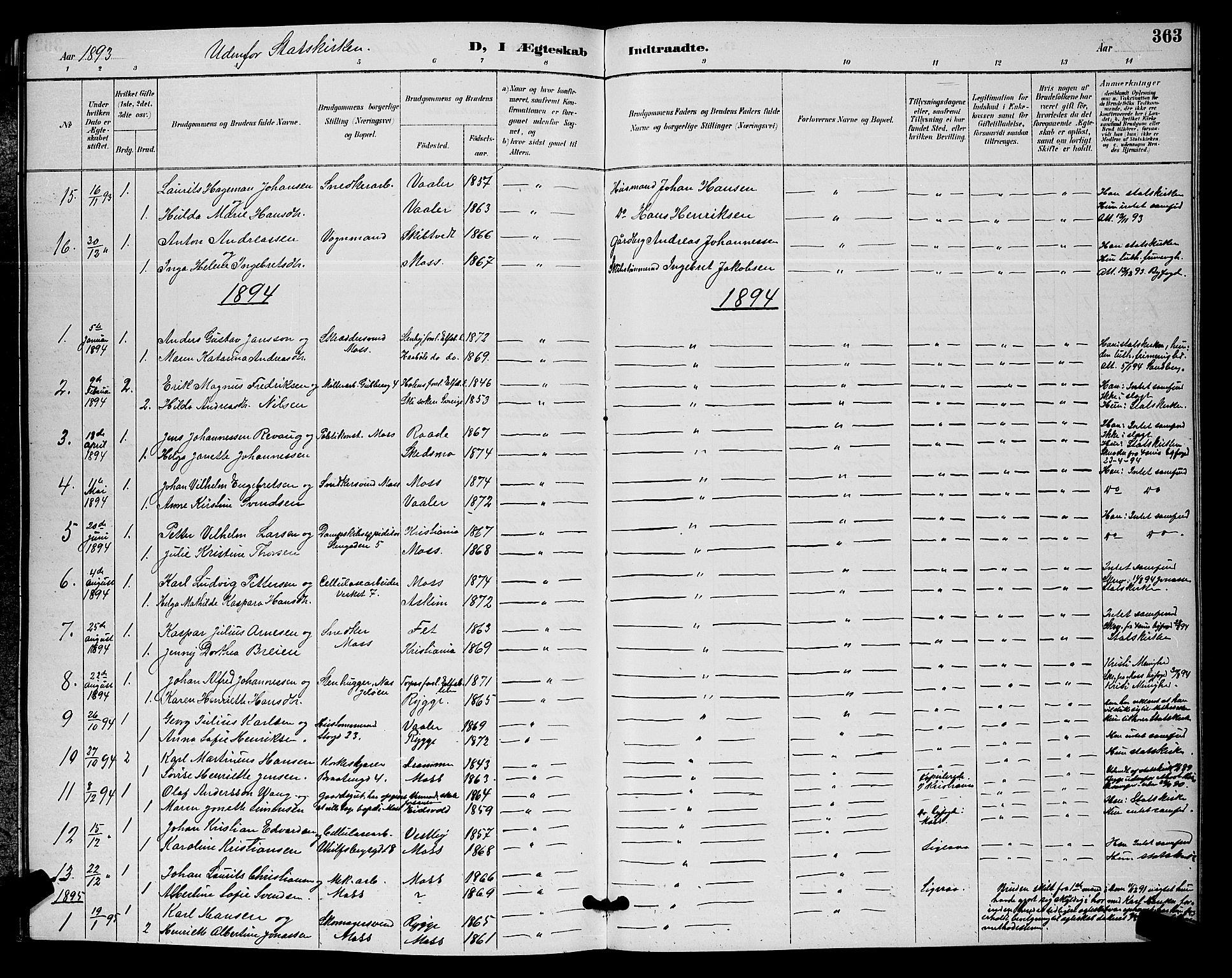 SAO, Moss prestekontor Kirkebøker, G/Ga/L0006: Klokkerbok nr. I 6, 1889-1900, s. 363