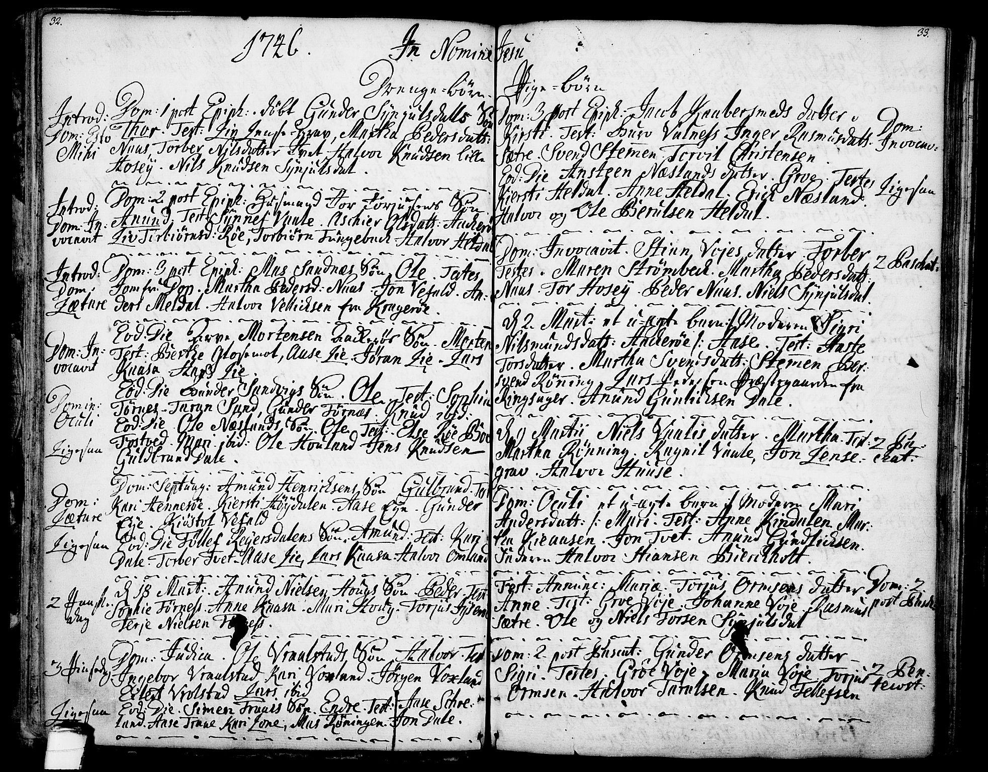 SAKO, Drangedal kirkebøker, F/Fa/L0001: Ministerialbok nr. 1, 1697-1767, s. 32-33