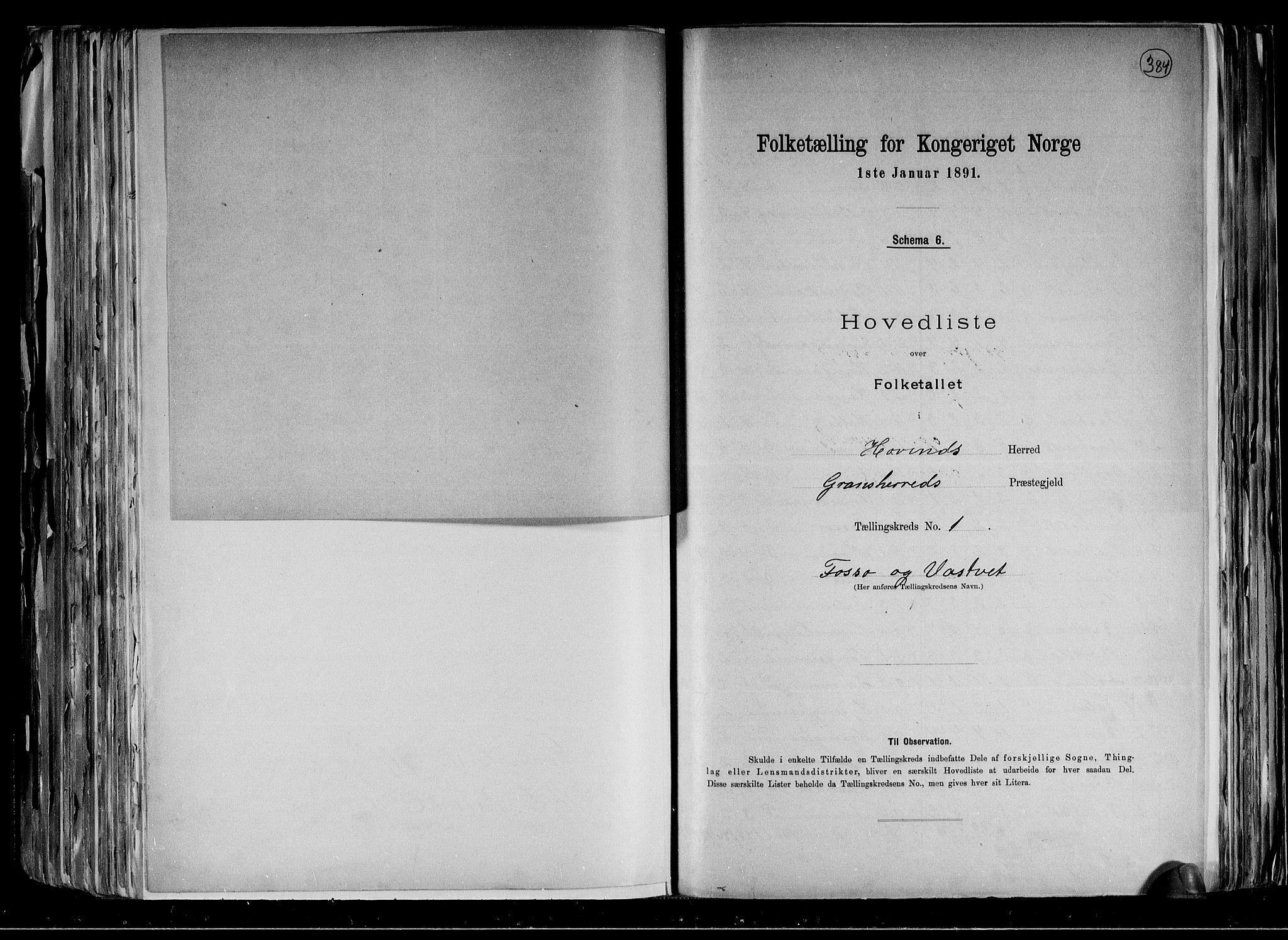 RA, Folketelling 1891 for 0825 Hovin herred, 1891, s. 5