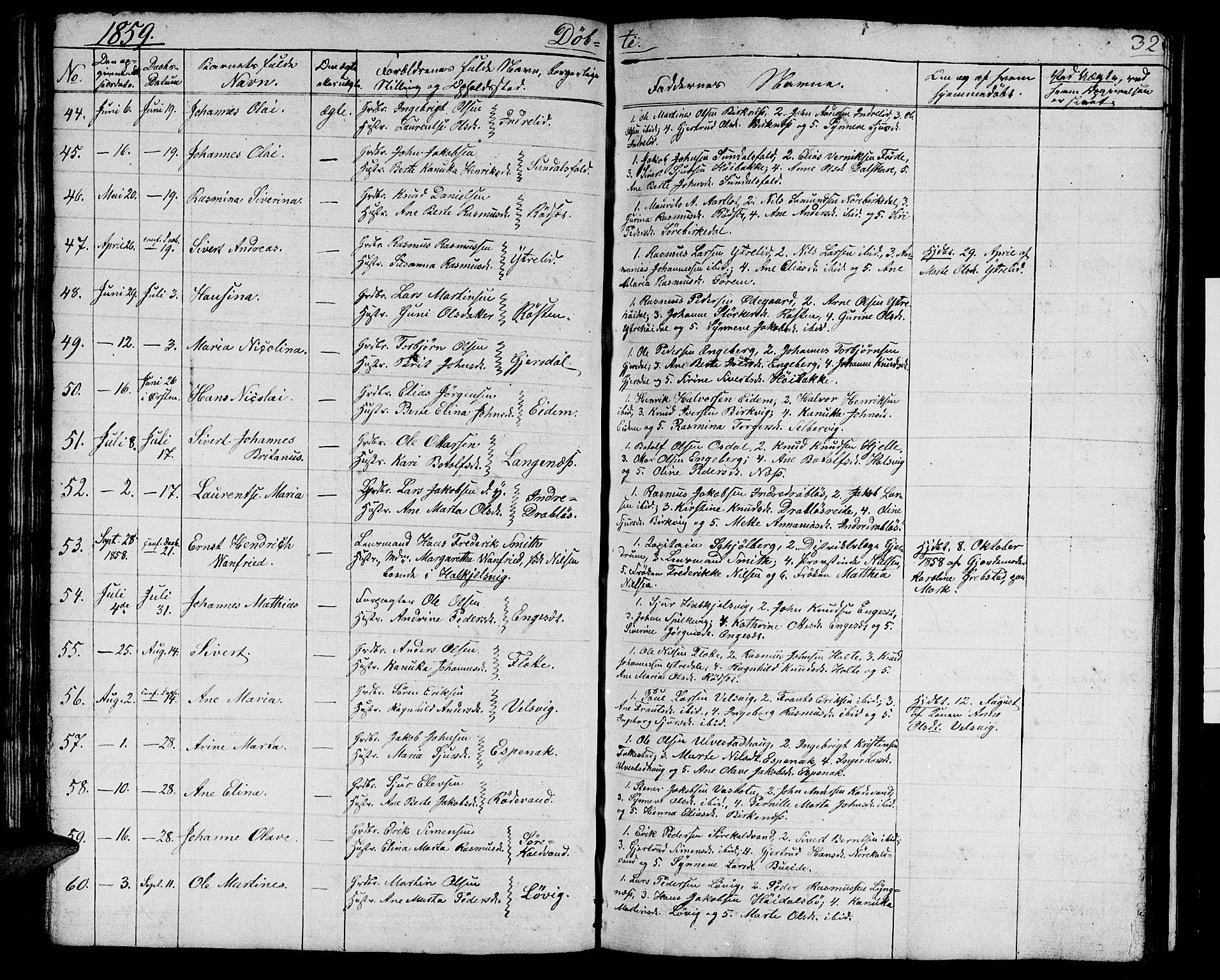 SAT, Ministerialprotokoller, klokkerbøker og fødselsregistre - Møre og Romsdal, 511/L0156: Klokkerbok nr. 511C02, 1855-1863, s. 32