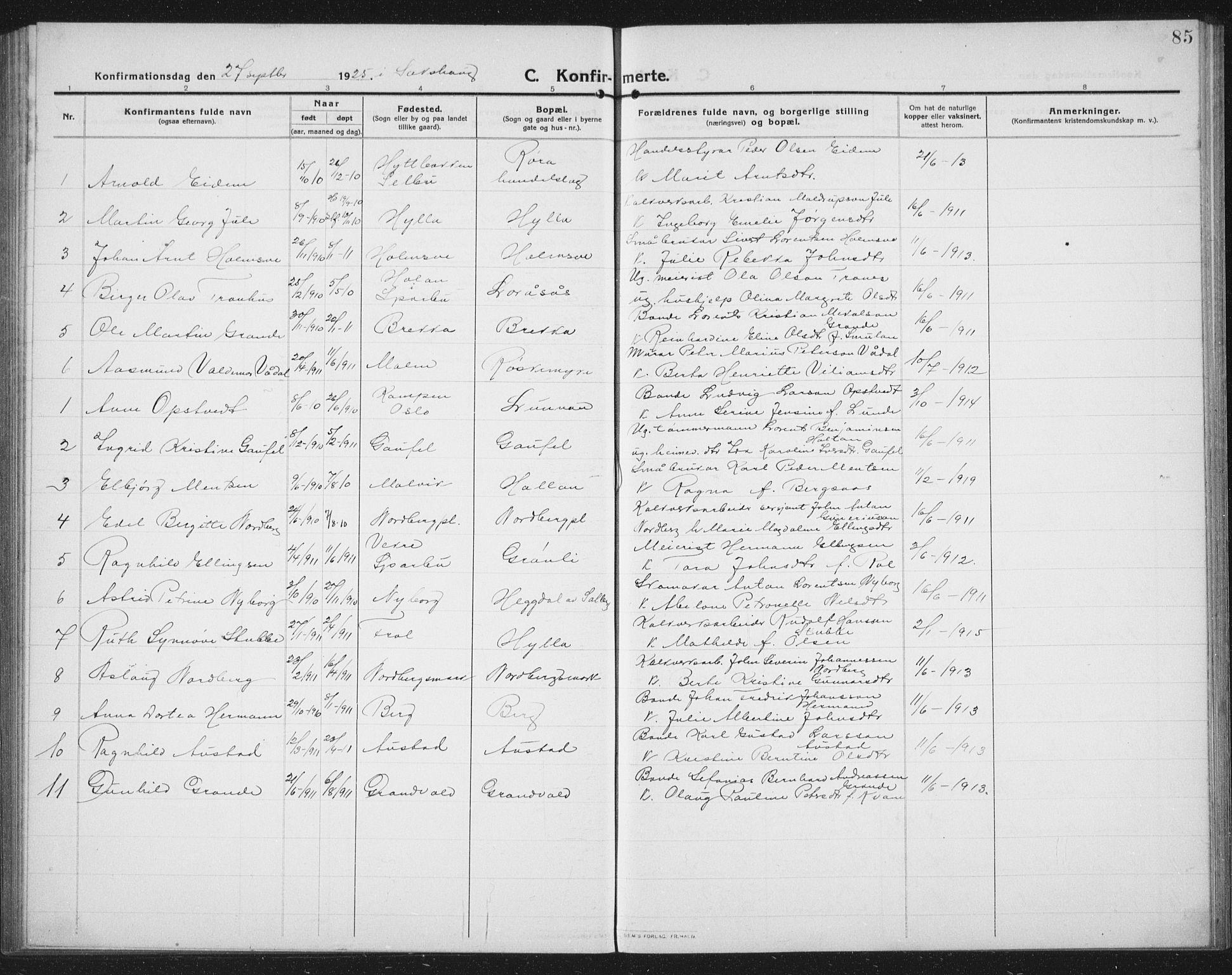 SAT, Ministerialprotokoller, klokkerbøker og fødselsregistre - Nord-Trøndelag, 731/L0312: Klokkerbok nr. 731C03, 1911-1935, s. 85