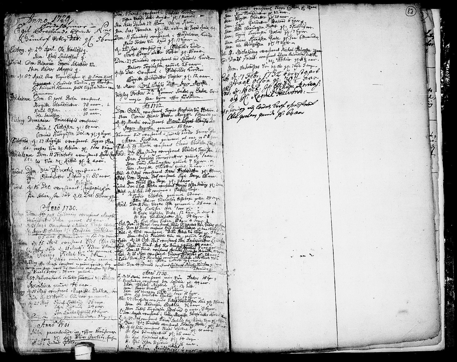 SAKO, Lårdal kirkebøker, F/Fa/L0001: Ministerialbok nr. I 1, 1721-1734, s. 82