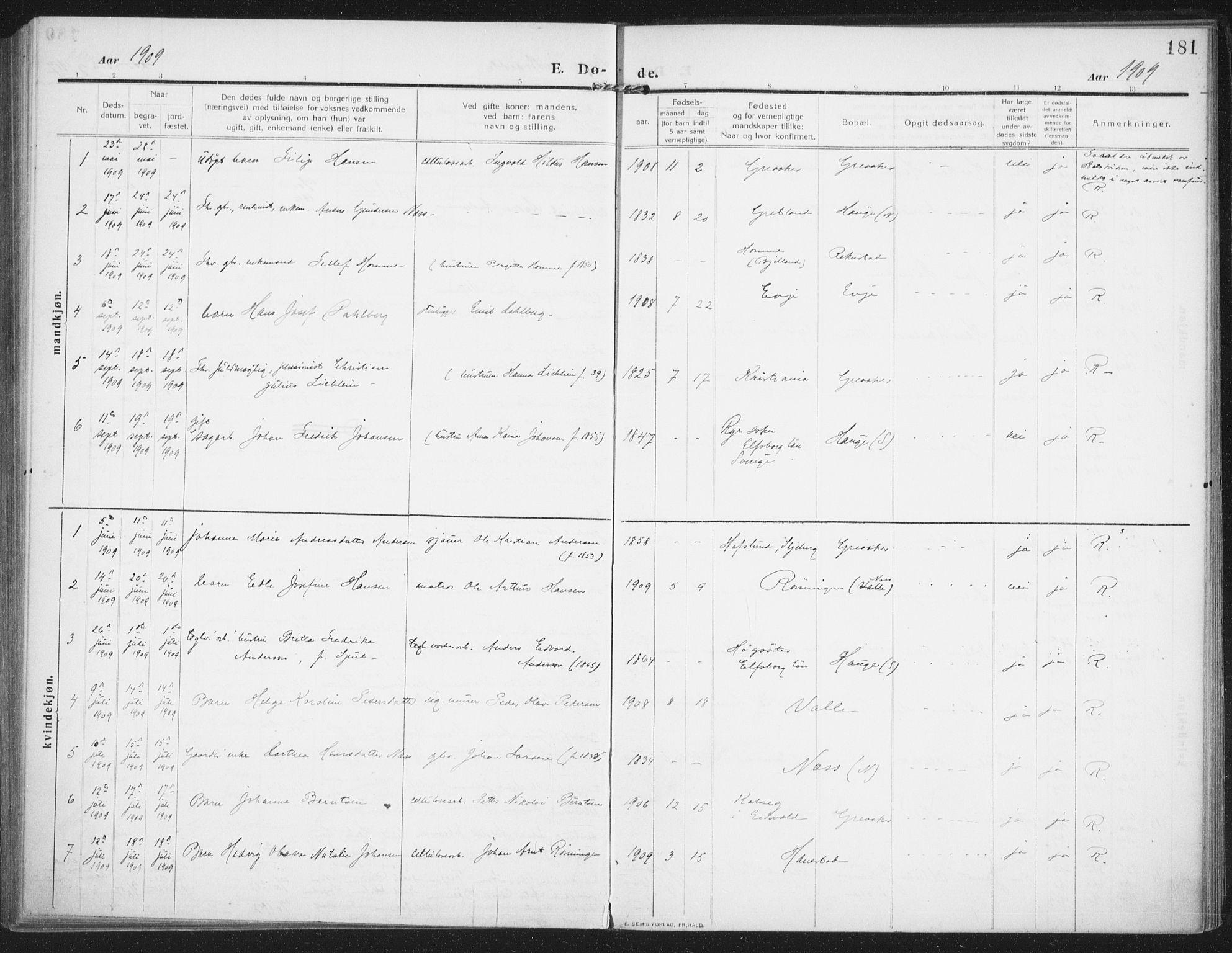 SAO, Rolvsøy prestekontor Kirkebøker, F/Fa/L0002: Ministerialbok nr. 2, 1909-1917, s. 181