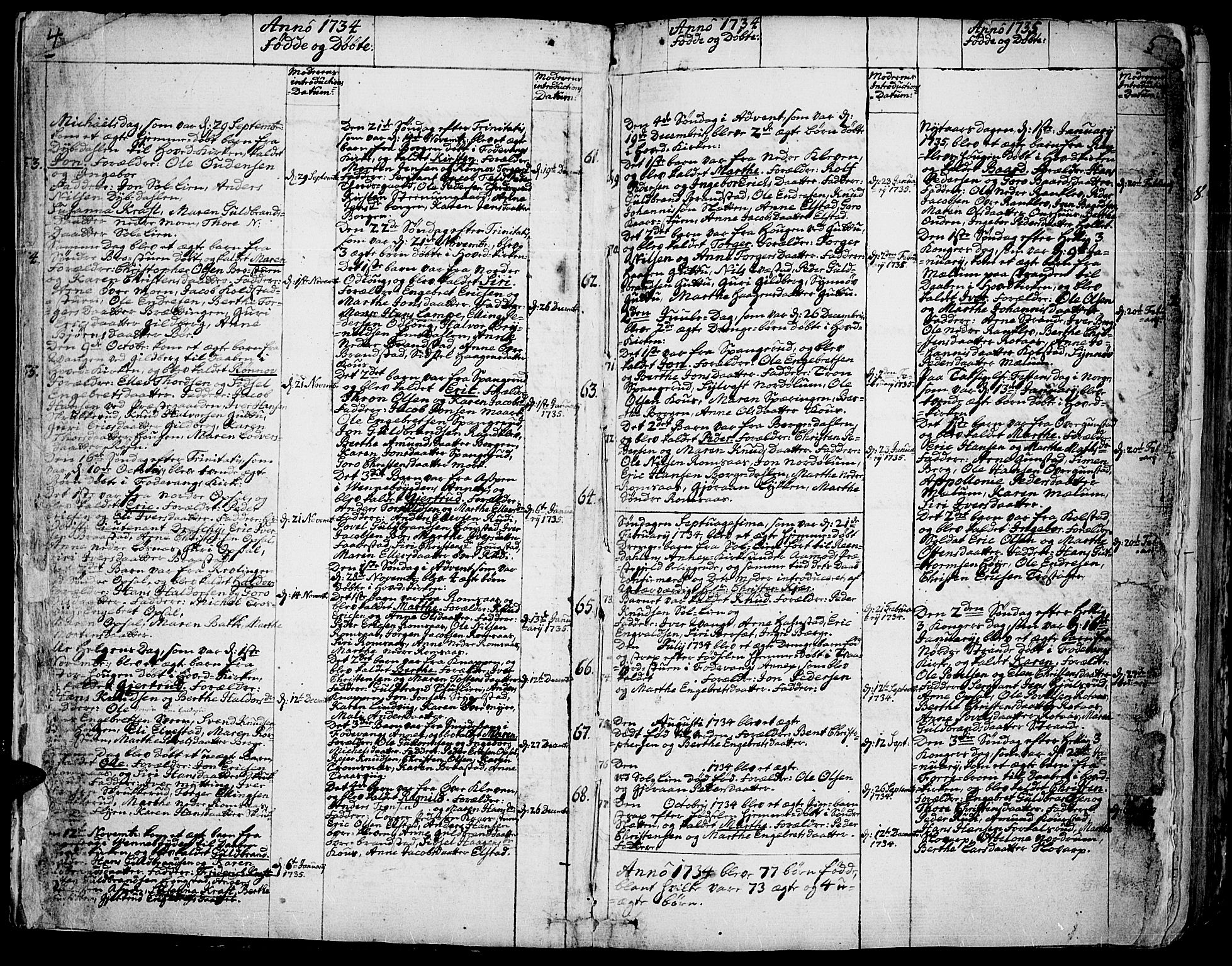 SAH, Ringebu prestekontor, Ministerialbok nr. 2, 1734-1780, s. 4-5
