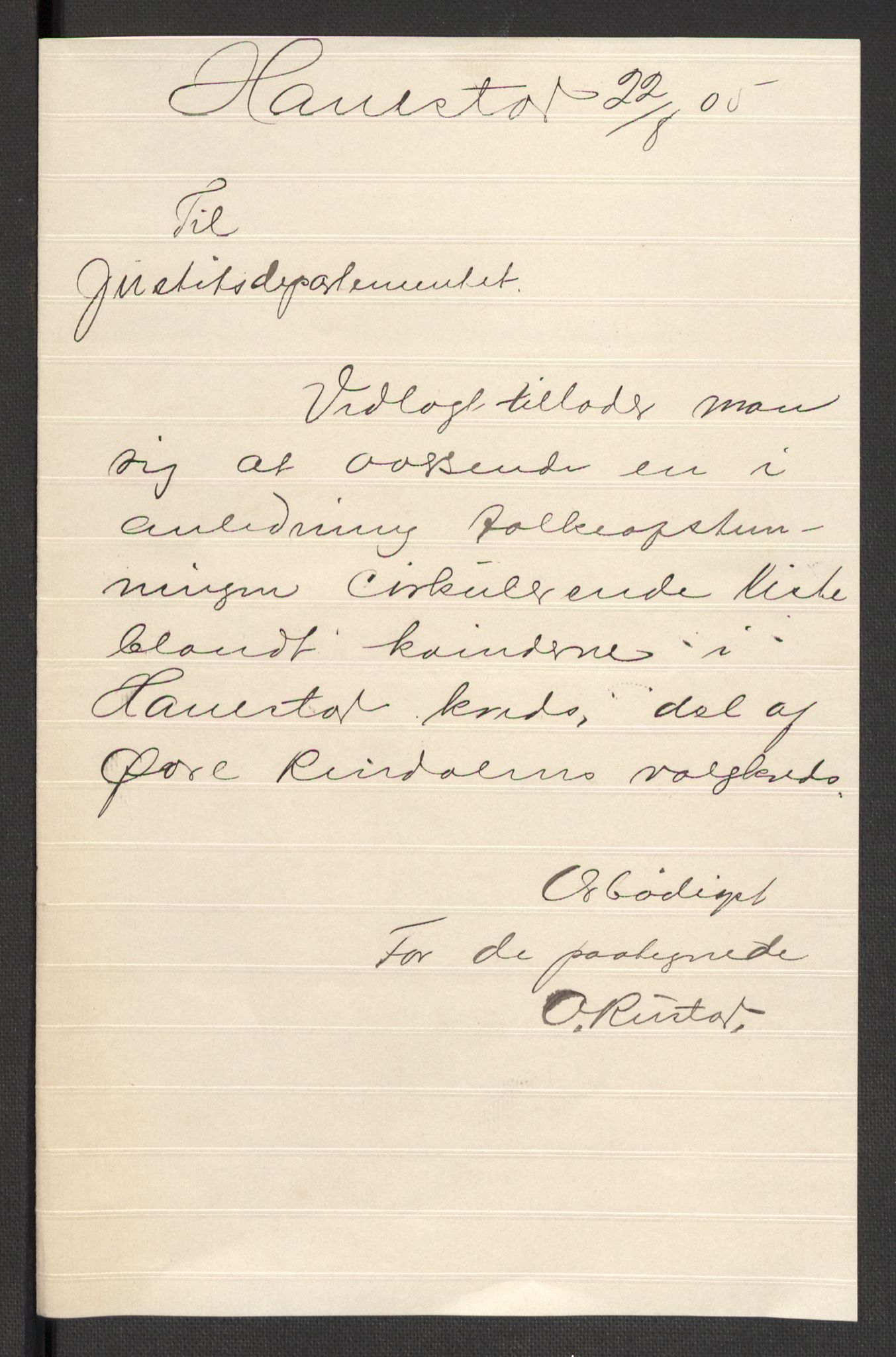 RA, Justisdepartementet, 2. sivilkontor C, F/L0125B: Folkeavstemmingen august 1905, 1905, s. 77