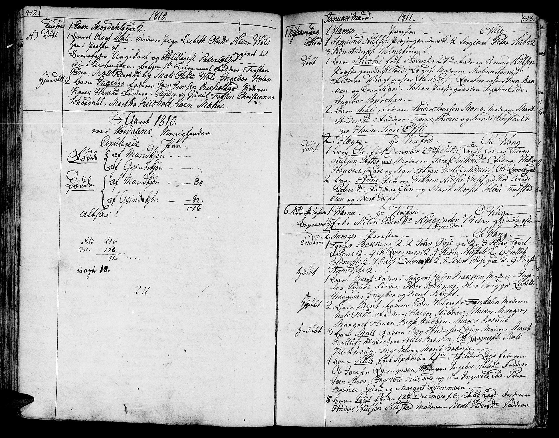 SAT, Ministerialprotokoller, klokkerbøker og fødselsregistre - Nord-Trøndelag, 709/L0060: Ministerialbok nr. 709A07, 1797-1815, s. 412-413