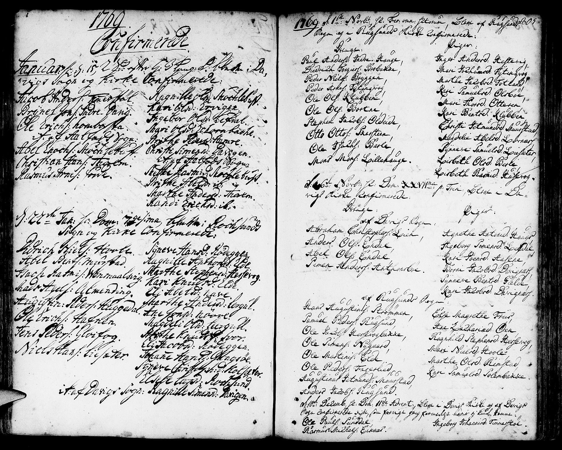 SAB, Davik Sokneprestembete, Ministerialbok nr. A 2, 1742-1816, s. 205