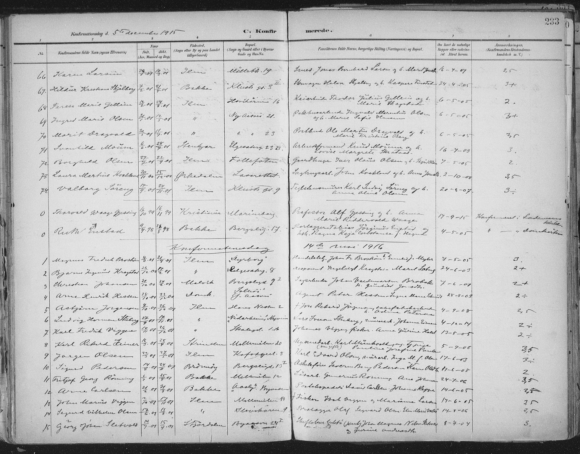 SAT, Ministerialprotokoller, klokkerbøker og fødselsregistre - Sør-Trøndelag, 603/L0167: Ministerialbok nr. 603A06, 1896-1932, s. 233