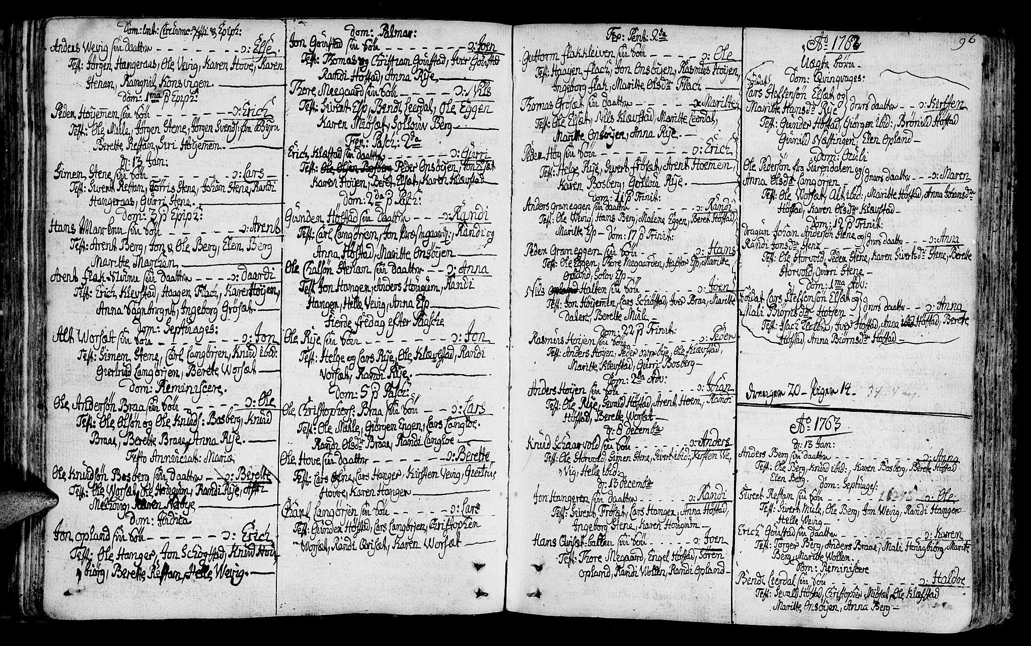 SAT, Ministerialprotokoller, klokkerbøker og fødselsregistre - Sør-Trøndelag, 612/L0370: Ministerialbok nr. 612A04, 1754-1802, s. 96