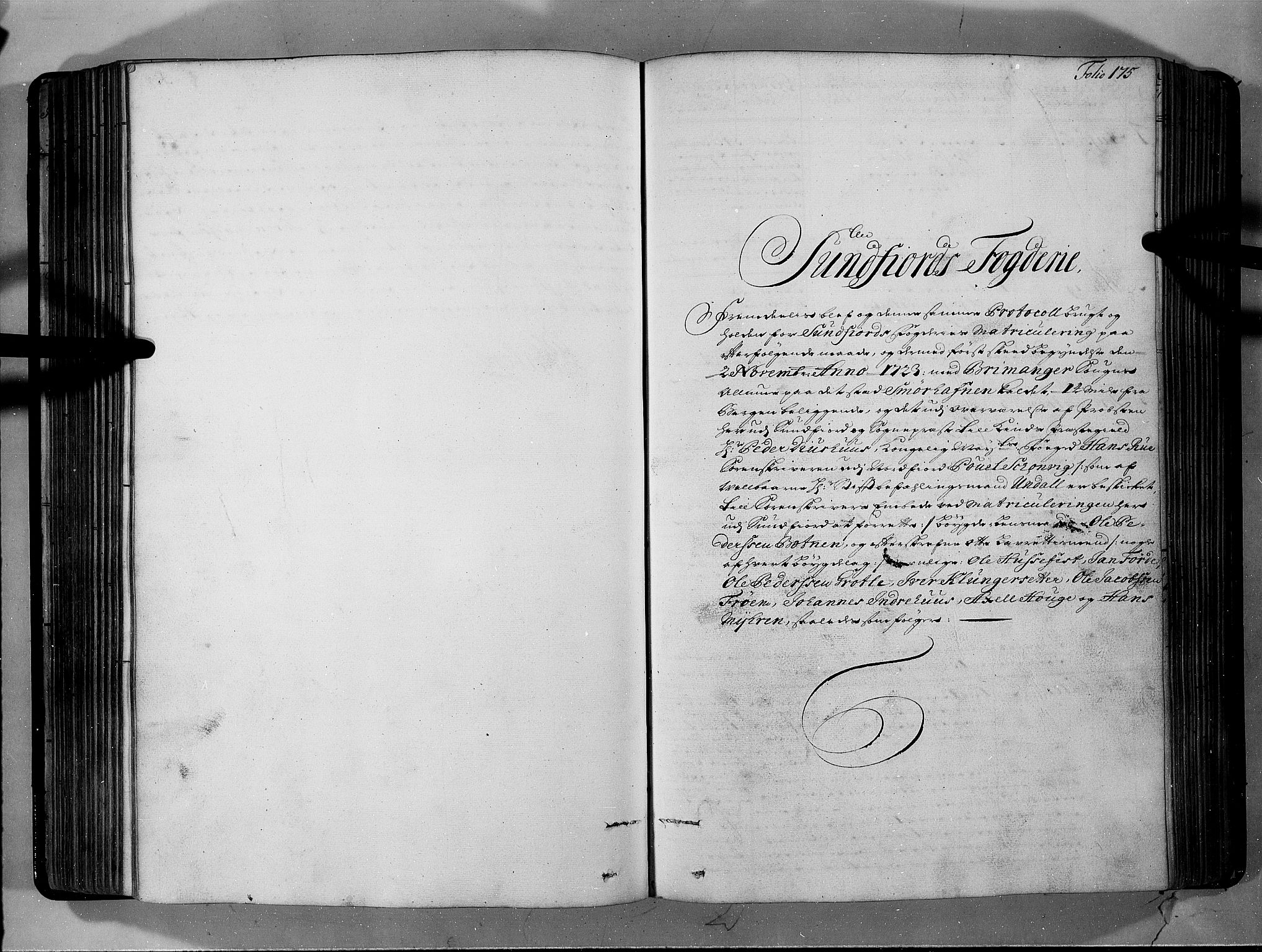 RA, Rentekammeret inntil 1814, Realistisk ordnet avdeling, N/Nb/Nbf/L0146: Sunnfjord og Nordfjord eksaminasjonsprotokoll, 1723, s. 174b-175a