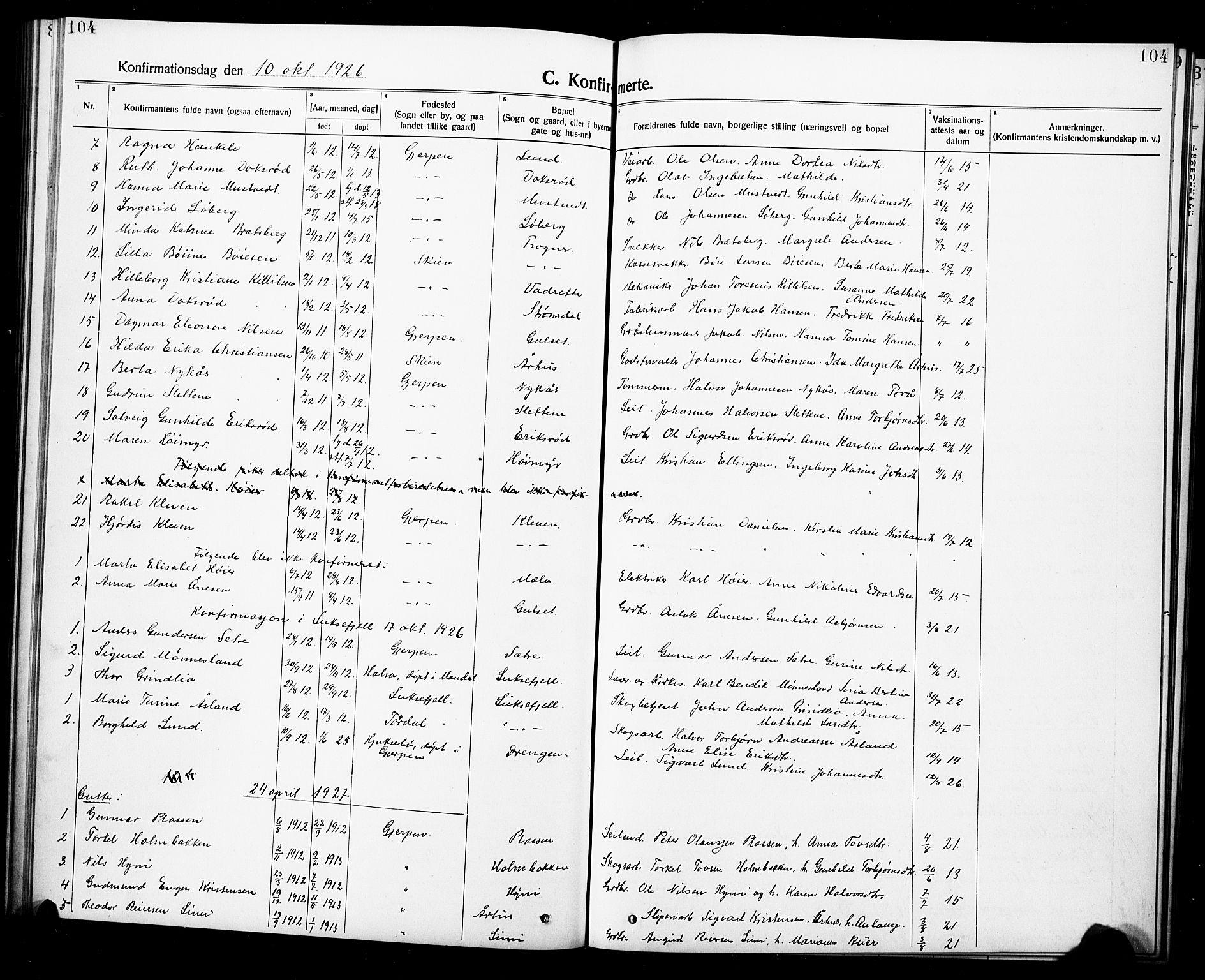 SAKO, Gjerpen kirkebøker, G/Ga/L0004: Klokkerbok nr. I 4, 1920-1931, s. 104