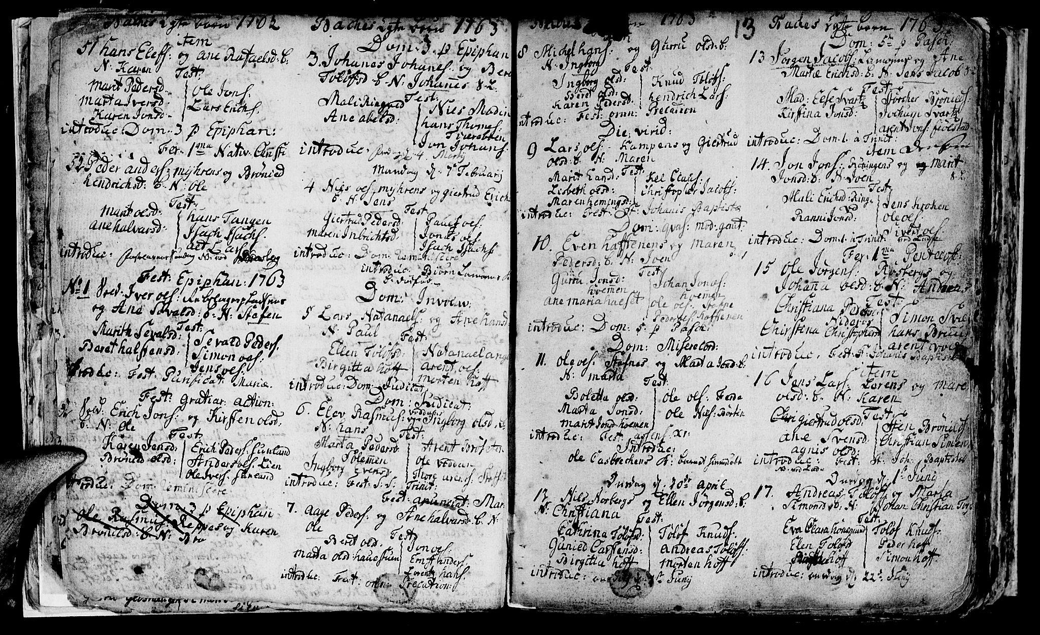 SAT, Ministerialprotokoller, klokkerbøker og fødselsregistre - Sør-Trøndelag, 604/L0218: Klokkerbok nr. 604C01, 1754-1819, s. 13