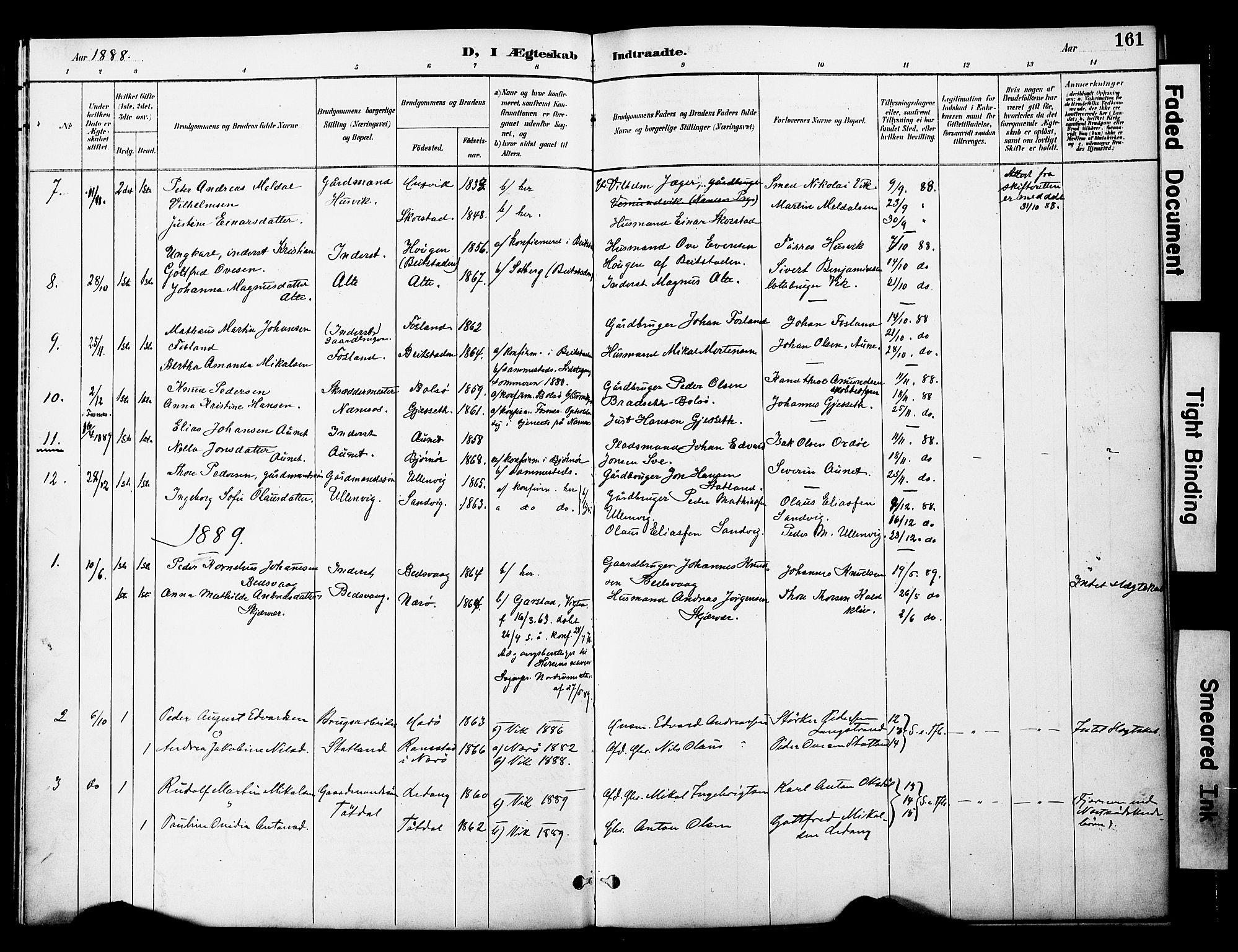 SAT, Ministerialprotokoller, klokkerbøker og fødselsregistre - Nord-Trøndelag, 774/L0628: Ministerialbok nr. 774A02, 1887-1903, s. 161