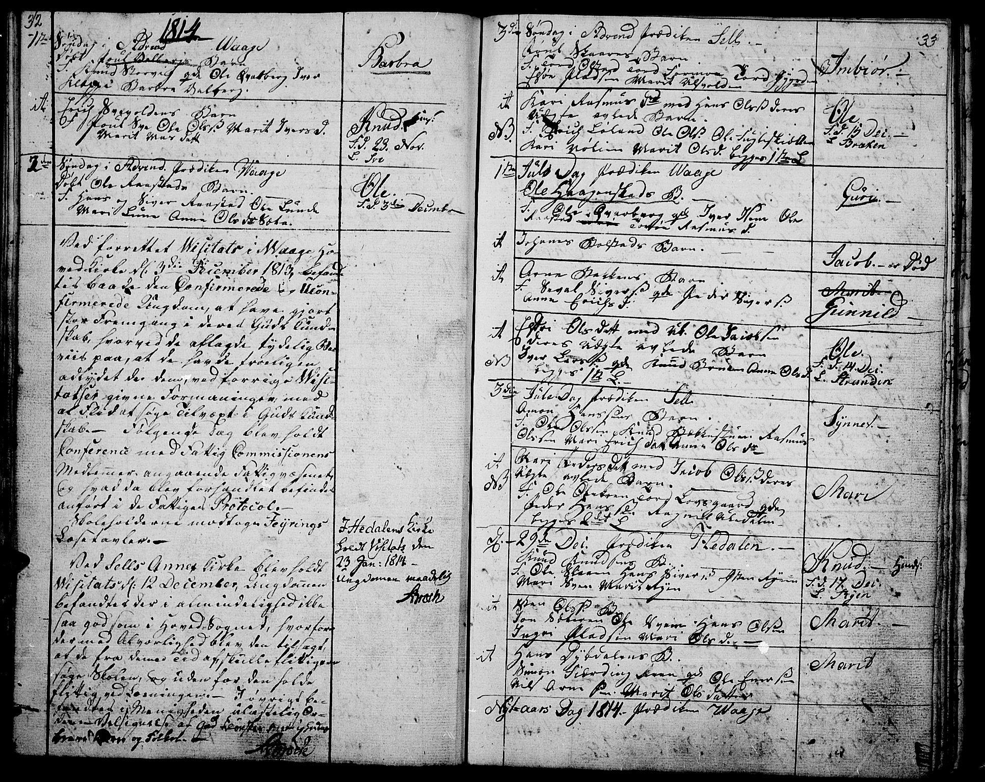 SAH, Vågå prestekontor, Ministerialbok nr. 2, 1810-1815, s. 32-33