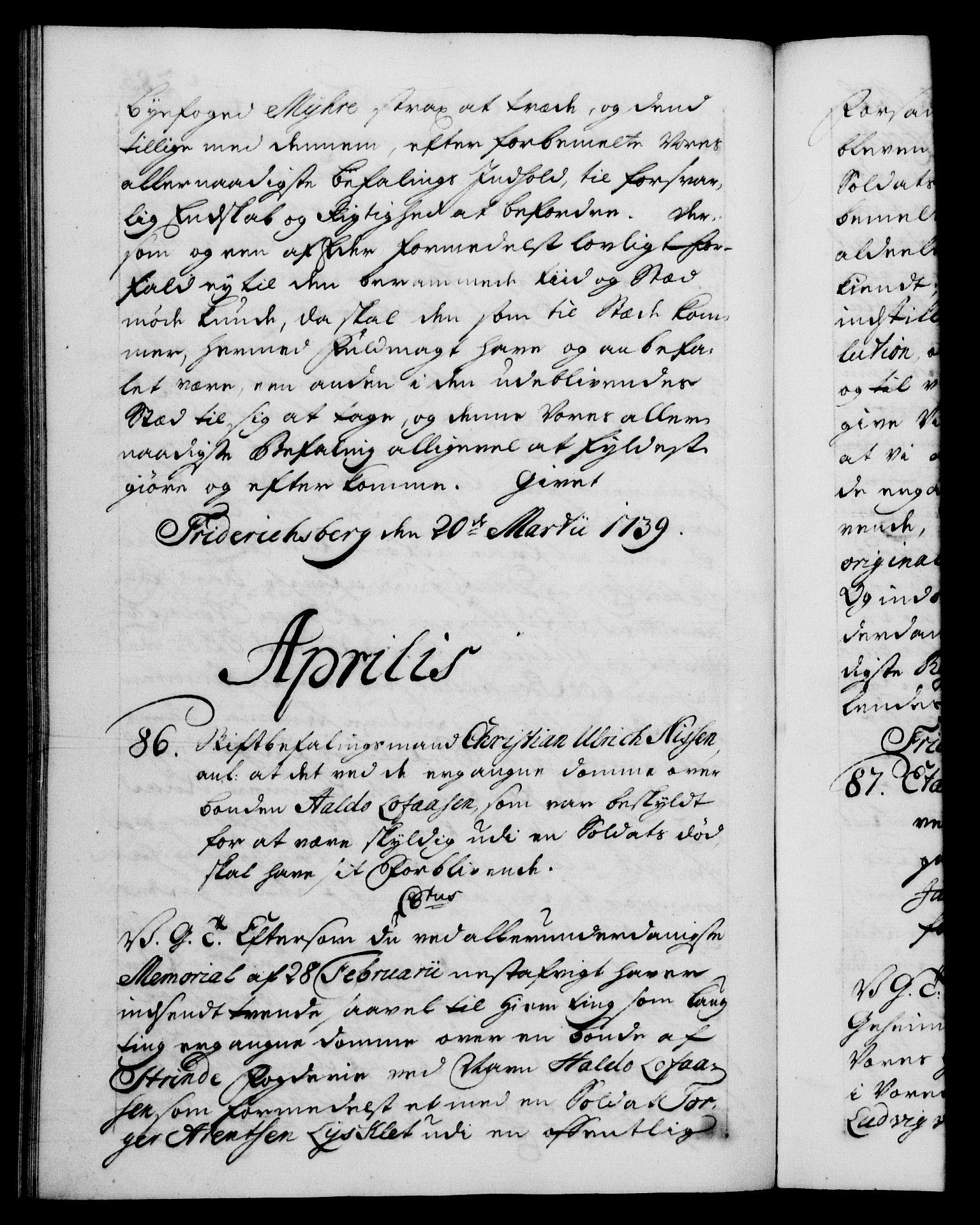 RA, Danske Kanselli 1572-1799, F/Fc/Fca/Fcab/L0028: Norske tegnelser, 1738-1740, s. 285b