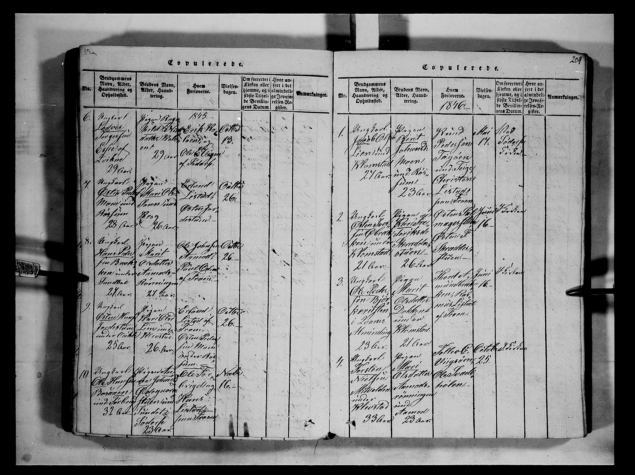 SAH, Fron prestekontor, H/Ha/Hab/L0002: Klokkerbok nr. 2, 1816-1850, s. 204