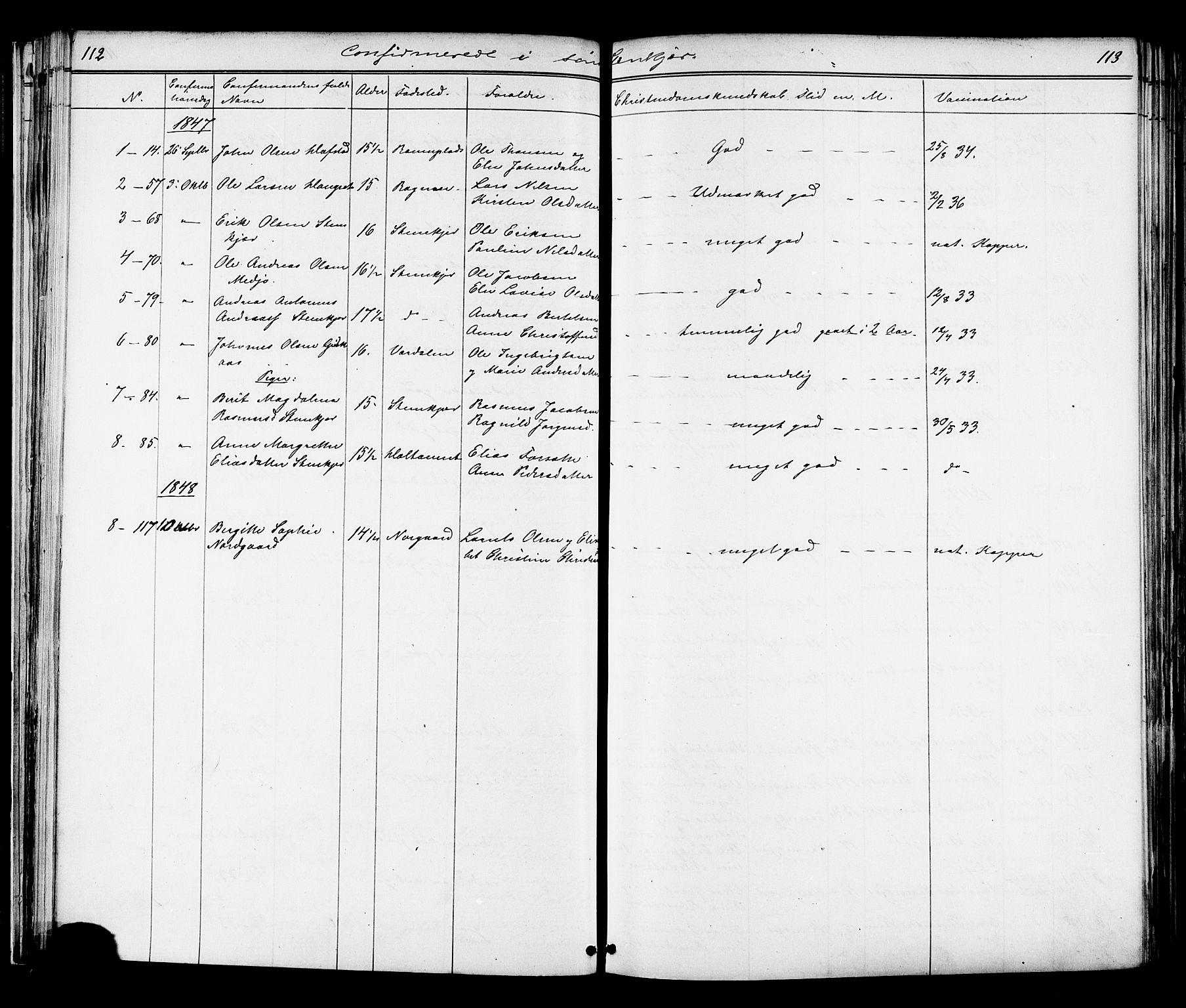SAT, Ministerialprotokoller, klokkerbøker og fødselsregistre - Nord-Trøndelag, 739/L0367: Ministerialbok nr. 739A01 /1, 1838-1868, s. 112-113