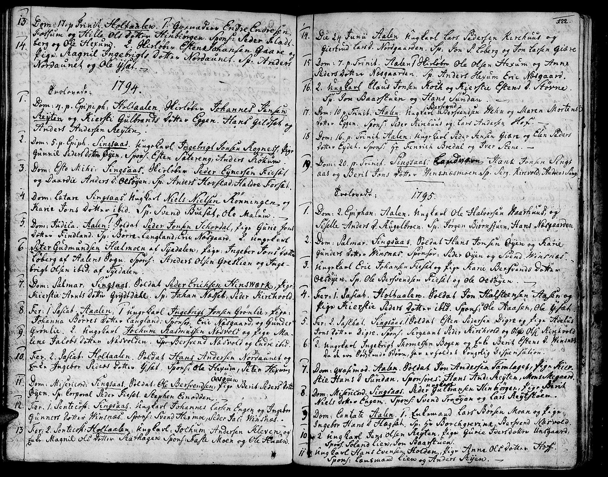 SAT, Ministerialprotokoller, klokkerbøker og fødselsregistre - Sør-Trøndelag, 685/L0952: Ministerialbok nr. 685A01, 1745-1804, s. 122