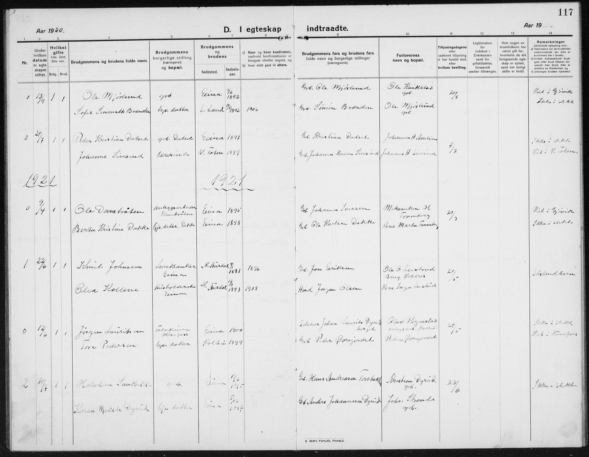 SAH, Kolbu prestekontor, Klokkerbok nr. 6, 1916-1934, s. 117