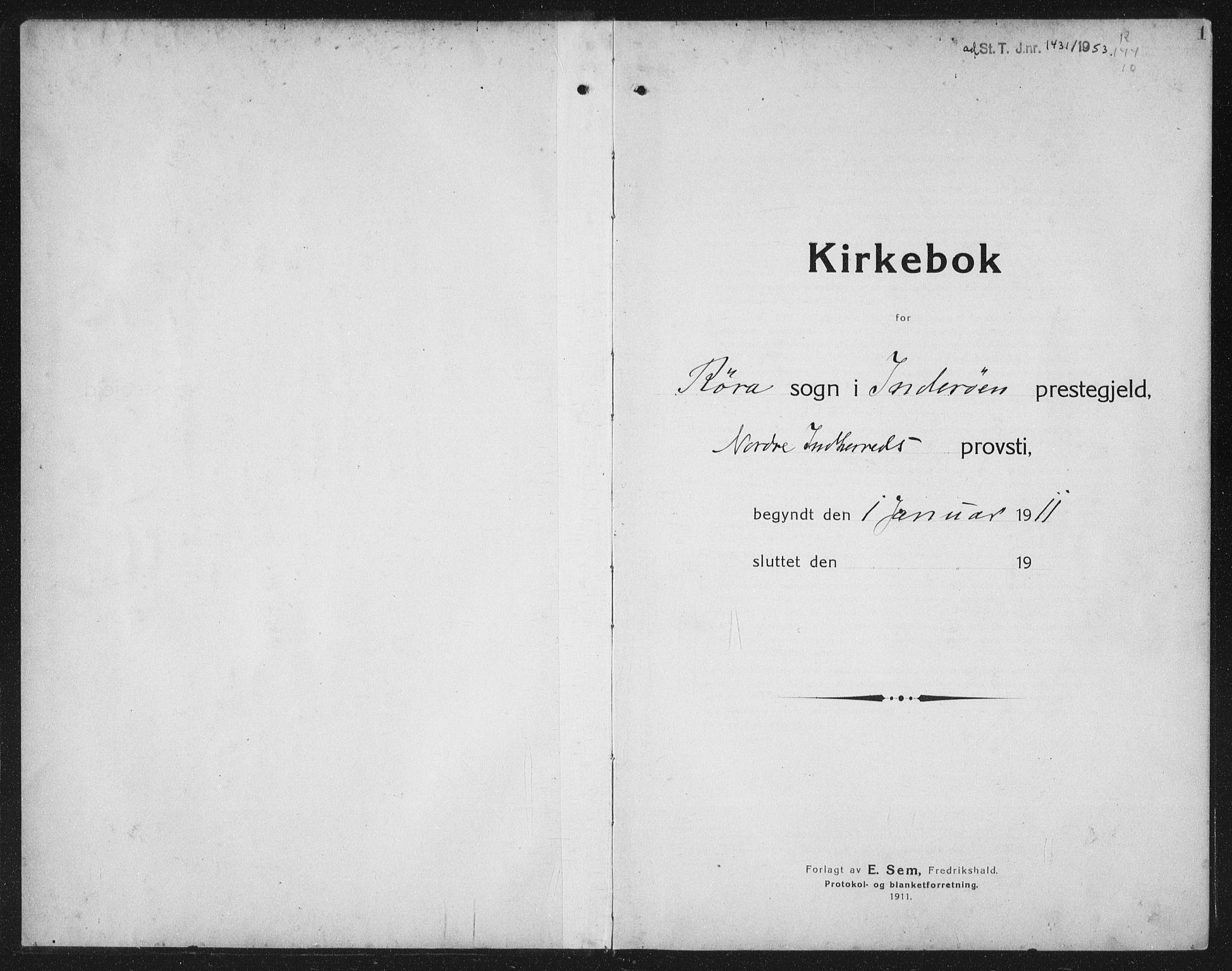 SAT, Ministerialprotokoller, klokkerbøker og fødselsregistre - Nord-Trøndelag, 731/L0312: Klokkerbok nr. 731C03, 1911-1935, s. 1
