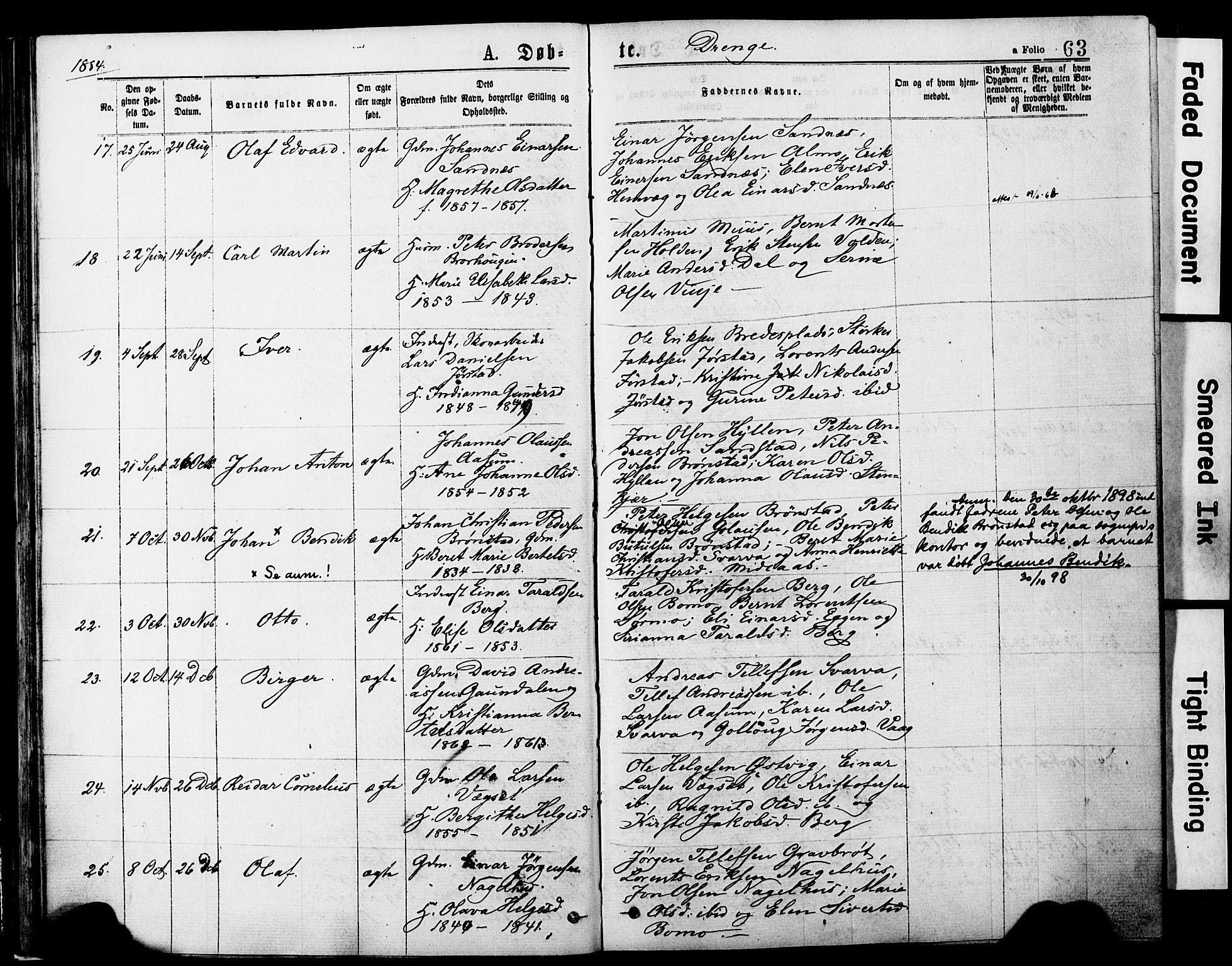 SAT, Ministerialprotokoller, klokkerbøker og fødselsregistre - Nord-Trøndelag, 749/L0473: Ministerialbok nr. 749A07, 1873-1887, s. 63