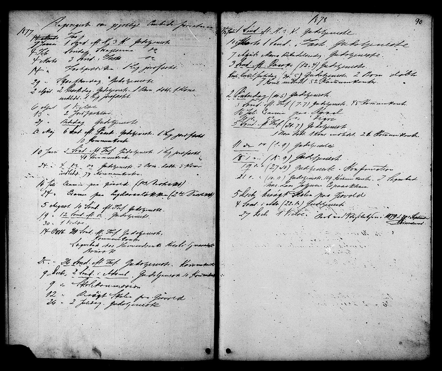SAT, Ministerialprotokoller, klokkerbøker og fødselsregistre - Sør-Trøndelag, 608/L0334: Ministerialbok nr. 608A03, 1877-1886, s. 90
