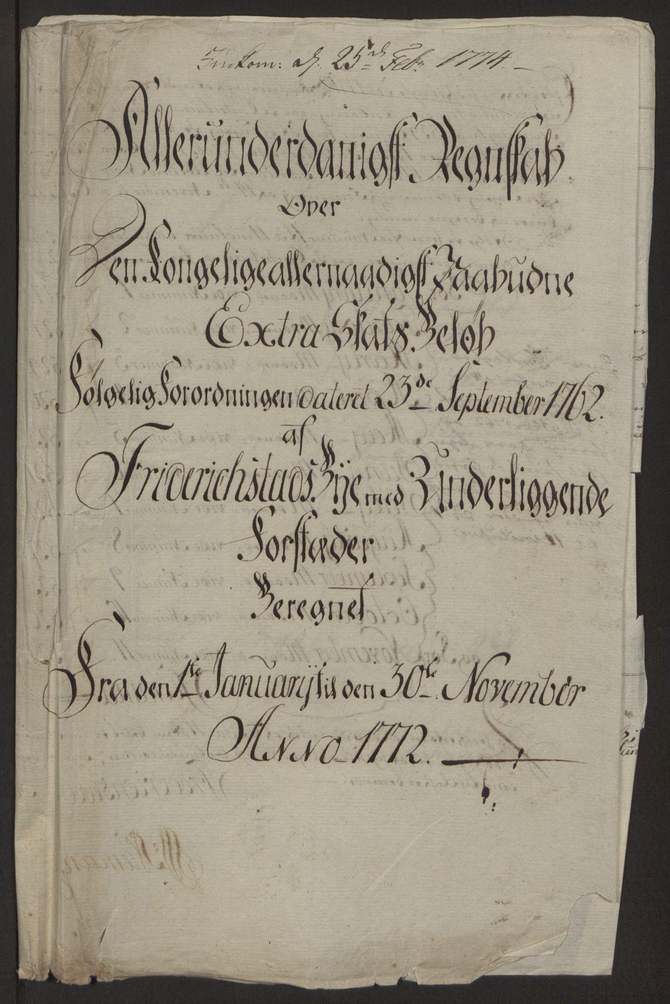RA, Rentekammeret inntil 1814, Reviderte regnskaper, Byregnskaper, R/Rb/L0029: [B3] Kontribusjonsregnskap, 1762-1772, s. 404