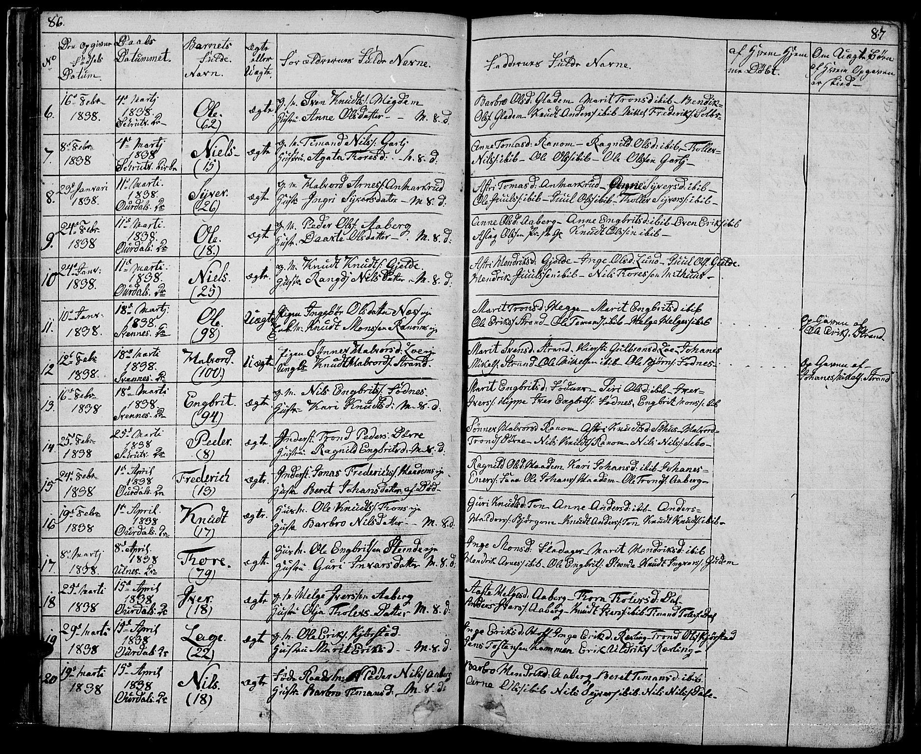 SAH, Nord-Aurdal prestekontor, Klokkerbok nr. 1, 1834-1887, s. 86-87