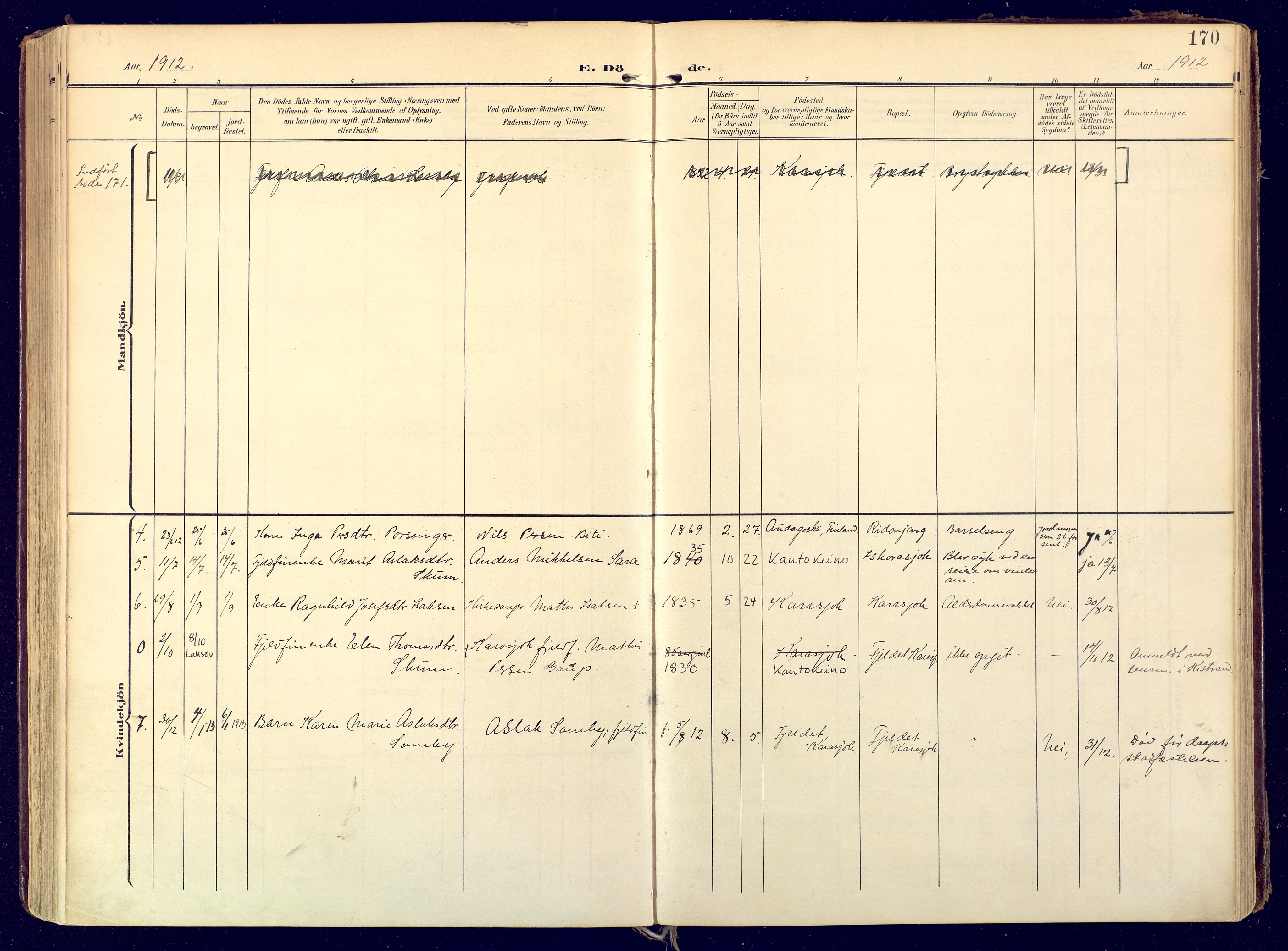 SATØ, Karasjok sokneprestkontor, H/Ha: Ministerialbok nr. 3, 1907-1926, s. 170