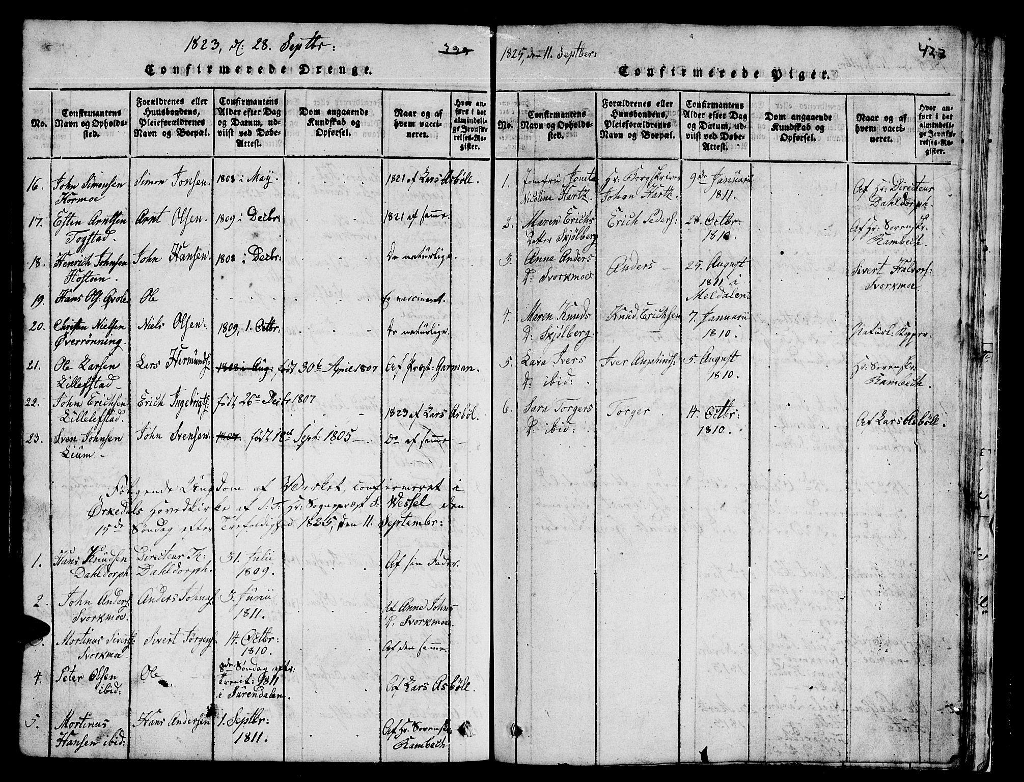 SAT, Ministerialprotokoller, klokkerbøker og fødselsregistre - Sør-Trøndelag, 671/L0842: Klokkerbok nr. 671C01, 1816-1867, s. 422-423