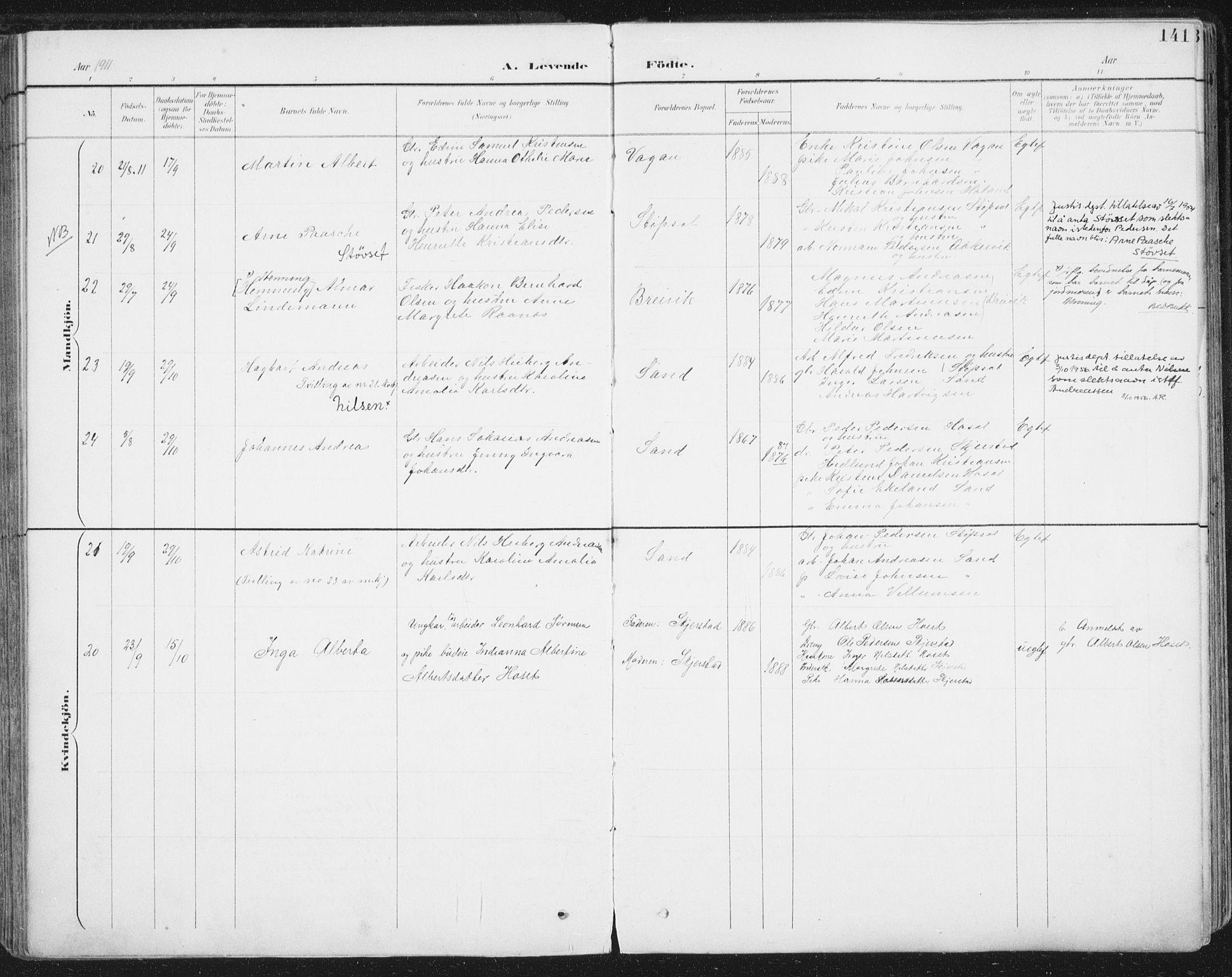 SAT, Ministerialprotokoller, klokkerbøker og fødselsregistre - Nordland, 852/L0741: Ministerialbok nr. 852A11, 1894-1917, s. 141