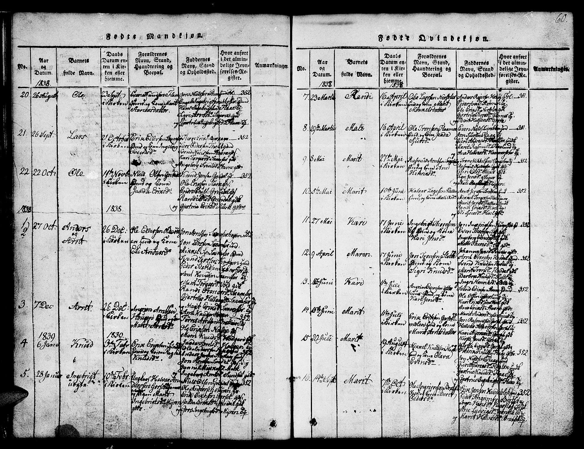 SAT, Ministerialprotokoller, klokkerbøker og fødselsregistre - Sør-Trøndelag, 674/L0874: Klokkerbok nr. 674C01, 1816-1860, s. 60
