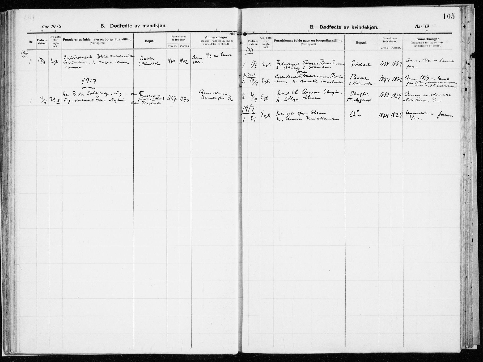 SAH, Vardal prestekontor, H/Ha/Haa/L0017: Ministerialbok nr. 17, 1915-1929, s. 105