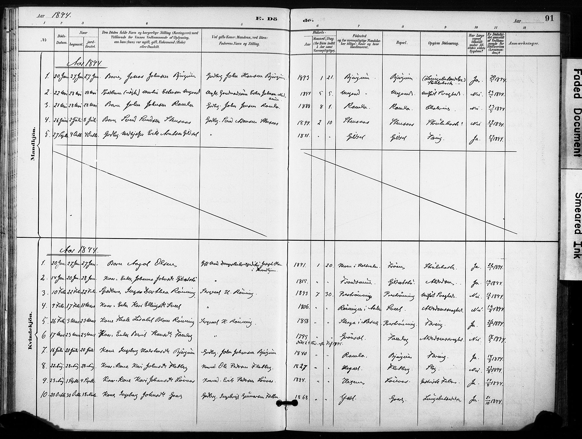 SAT, Ministerialprotokoller, klokkerbøker og fødselsregistre - Sør-Trøndelag, 685/L0973: Ministerialbok nr. 685A10, 1891-1907, s. 91