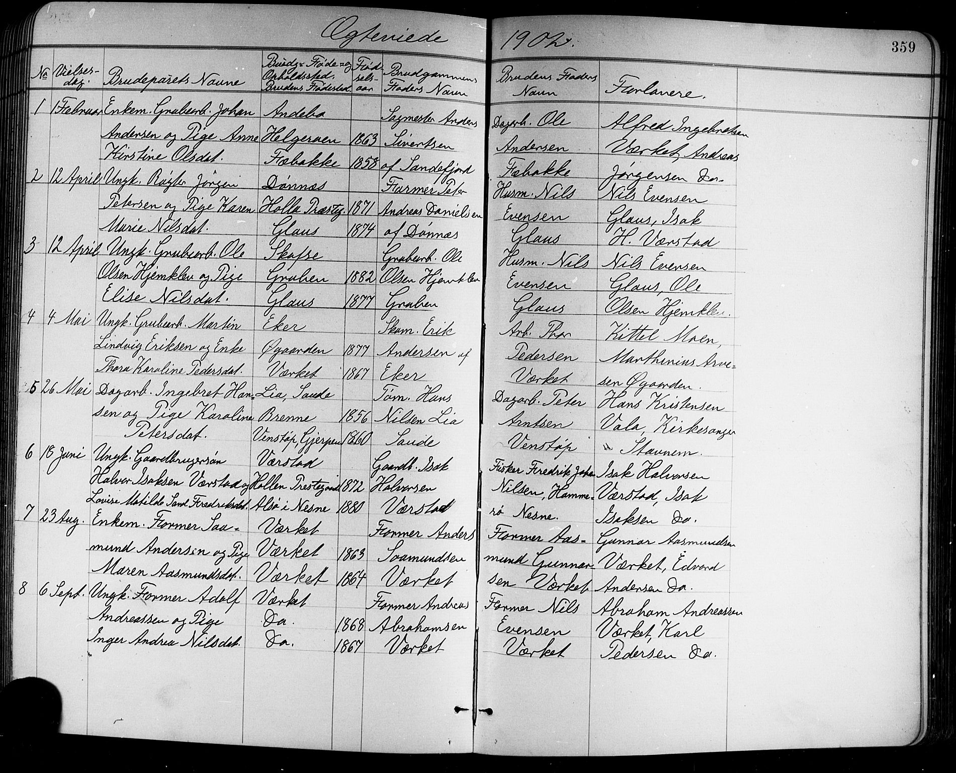 SAKO, Holla kirkebøker, G/Ga/L0005: Klokkerbok nr. I 5, 1891-1917, s. 359