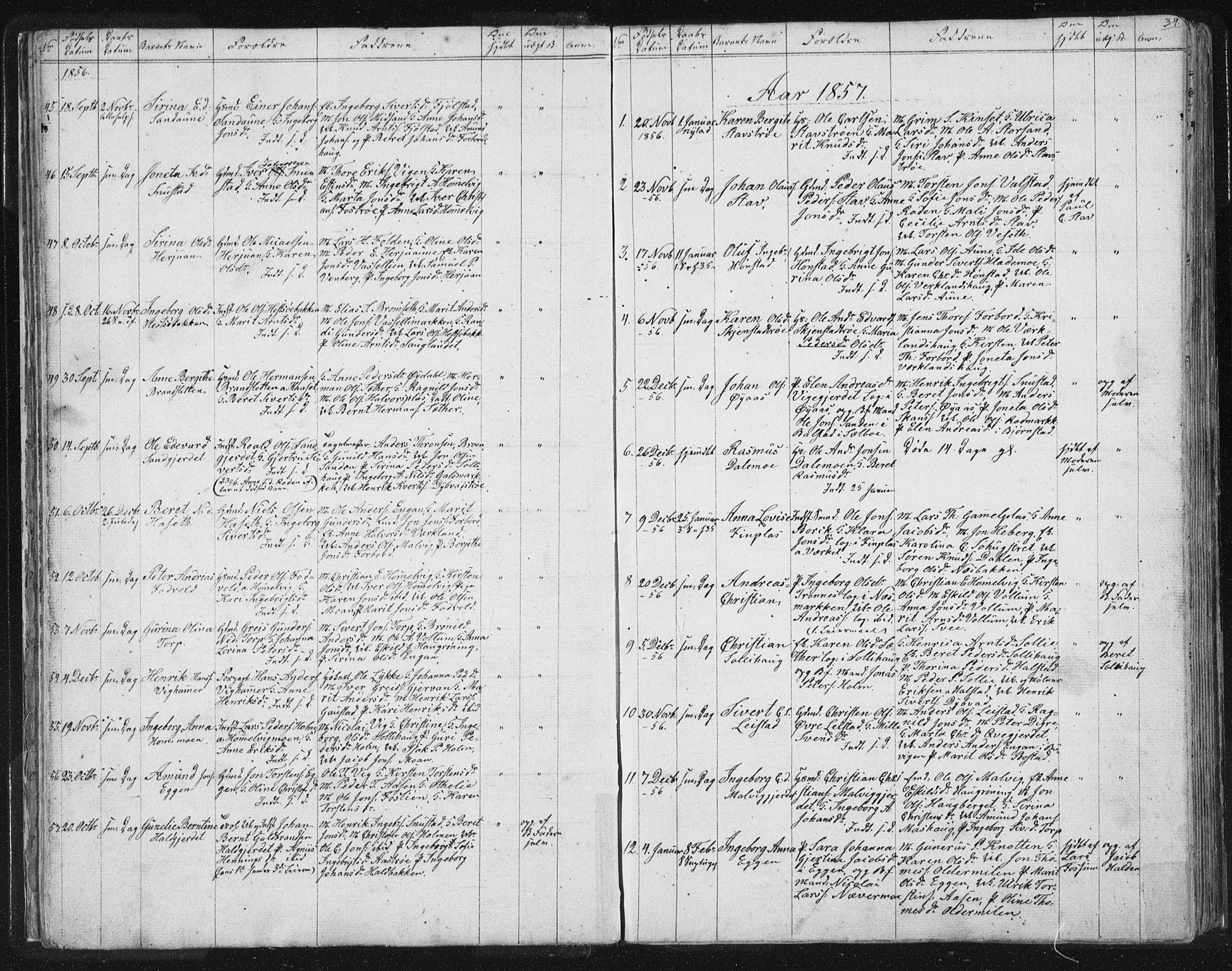 SAT, Ministerialprotokoller, klokkerbøker og fødselsregistre - Sør-Trøndelag, 616/L0406: Ministerialbok nr. 616A03, 1843-1879, s. 34